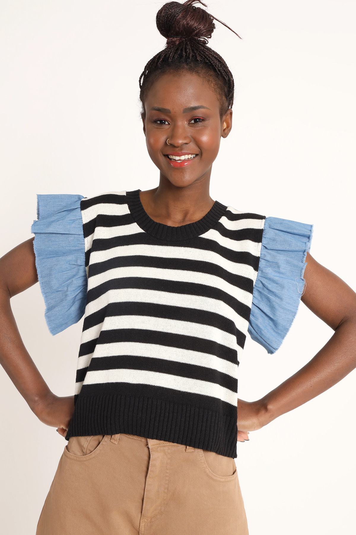 Striped Crewneck Vest with Chambray Rouches