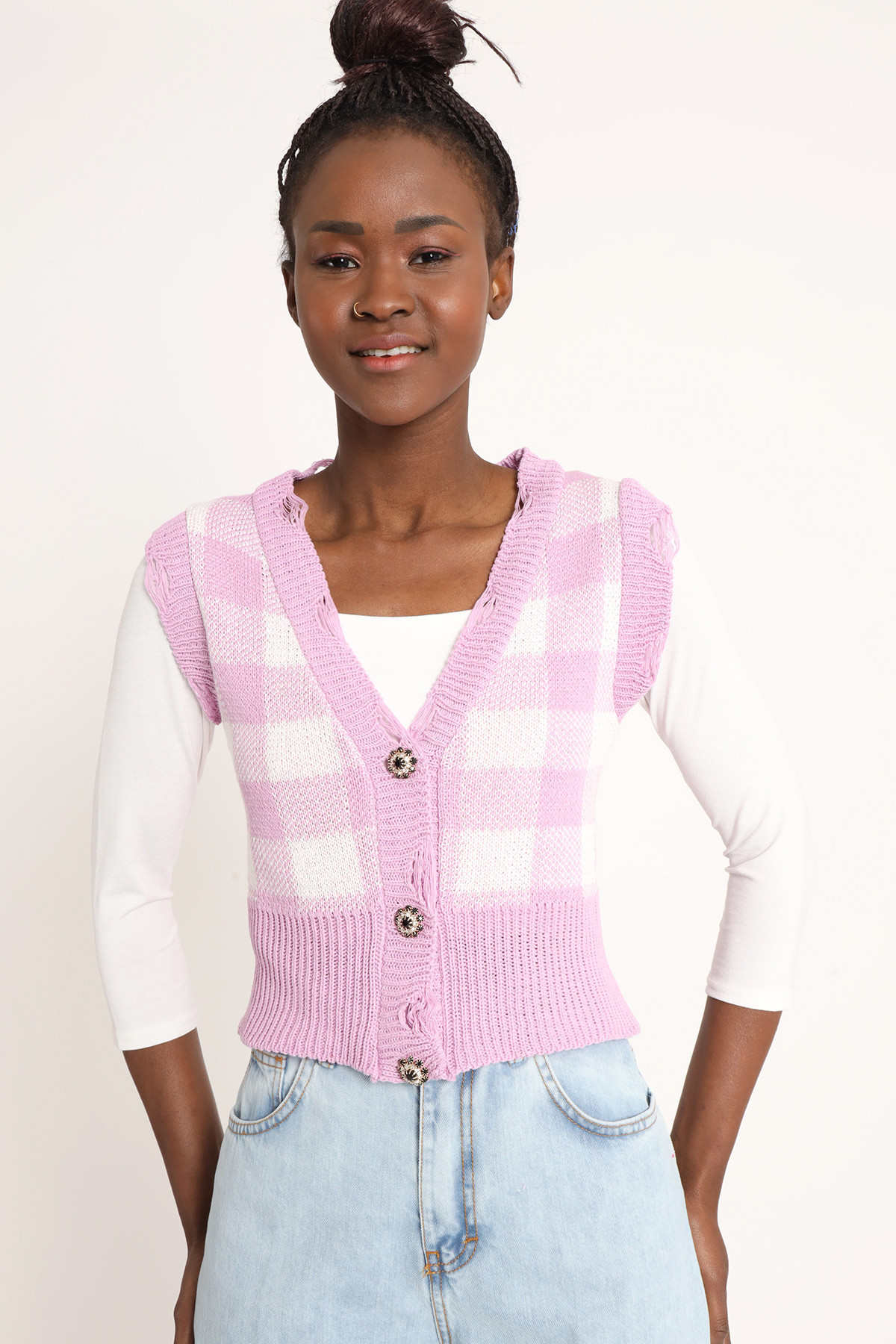 Check Vest with Jewel Buttons