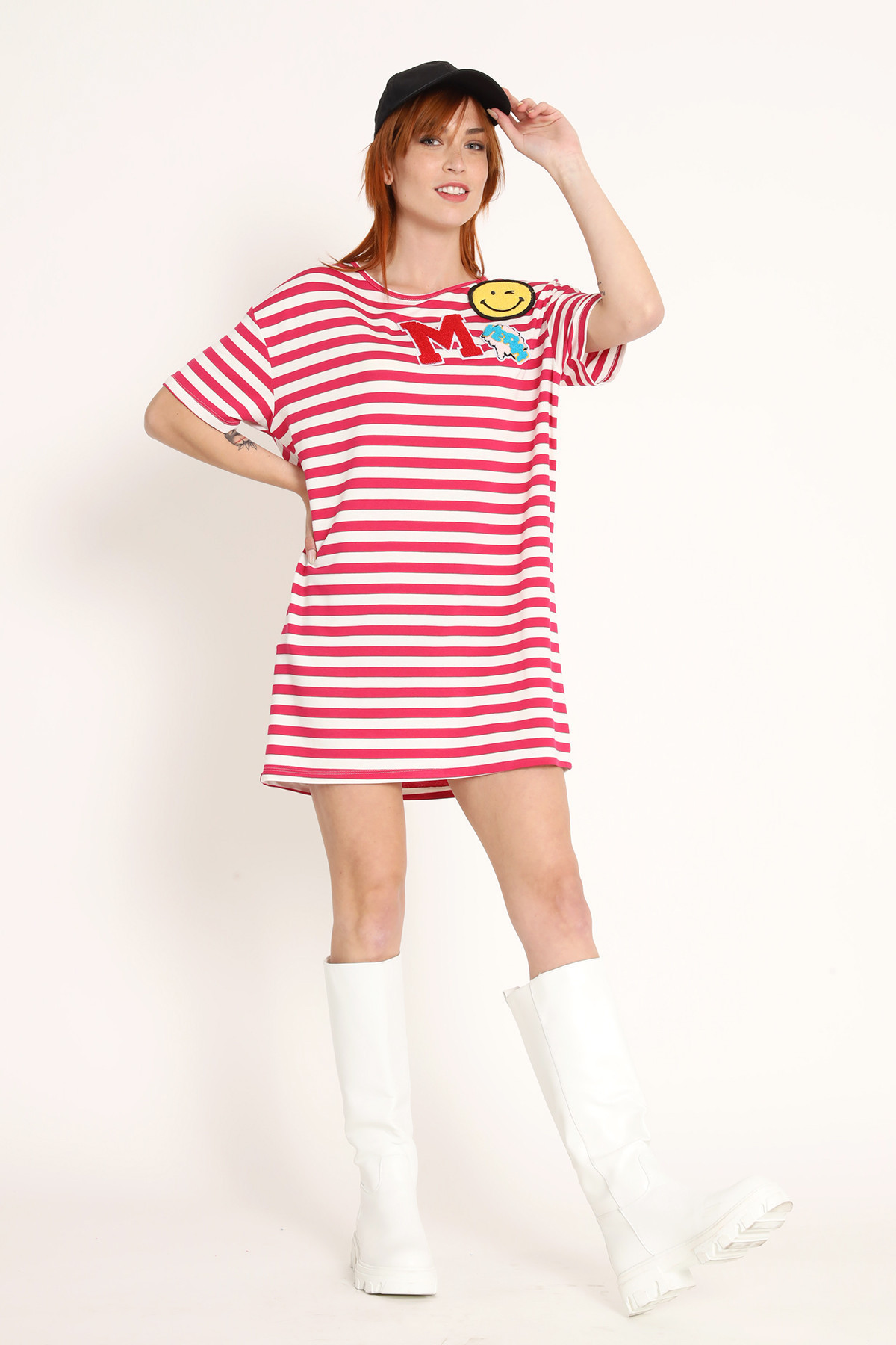 Striped Mini Dress with Patches
