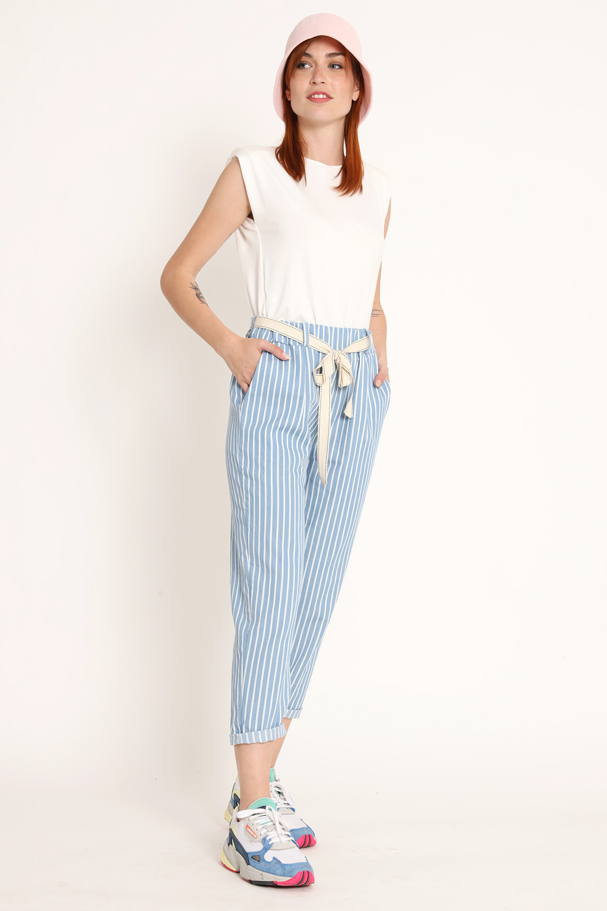 Striped Chino Pocket Trousers with Fabric Belt