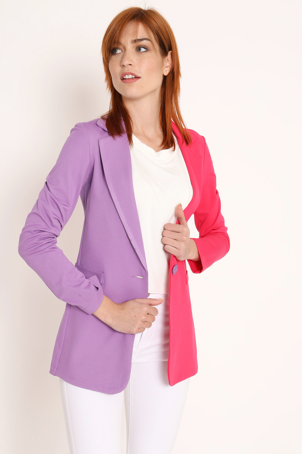 Bicolor Milano stitch jacket