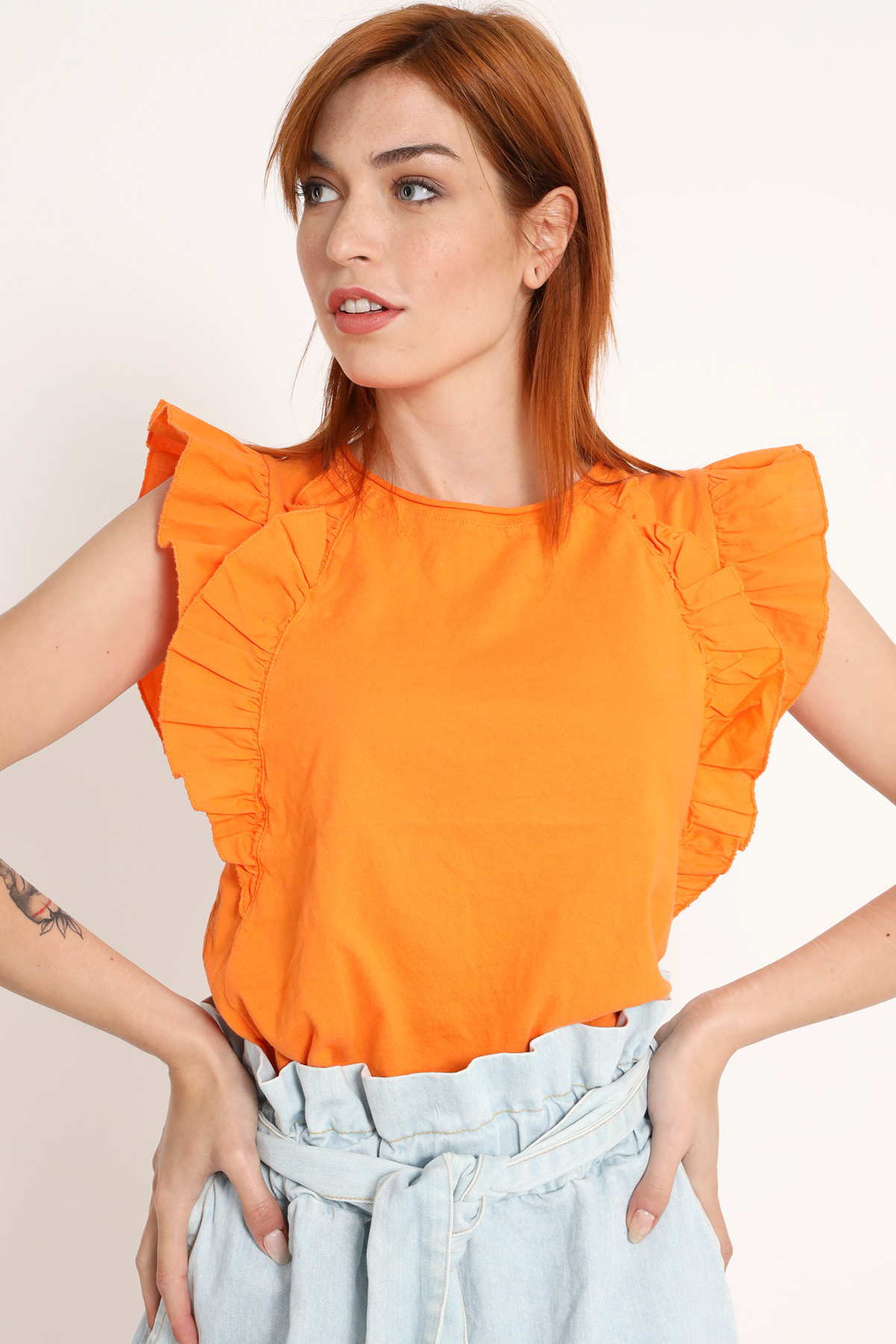 Sleeveless T-Shirt with Rouches