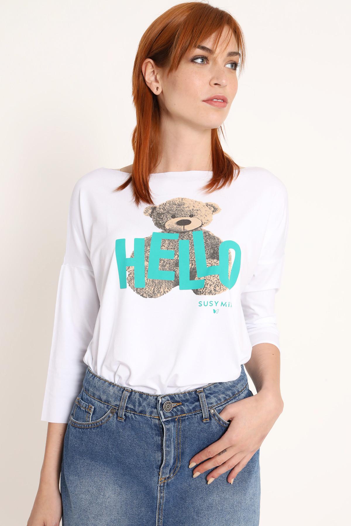 T-Shirt Dropped Shoulder 3/4 Sleeve Teddy Bear Print