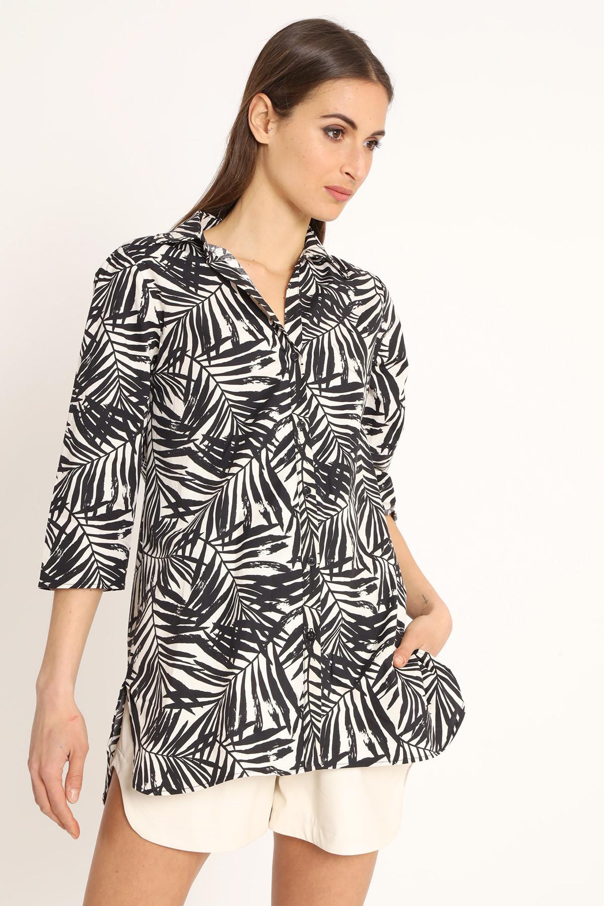 3/4 Sleeve Tunic Leaf Print