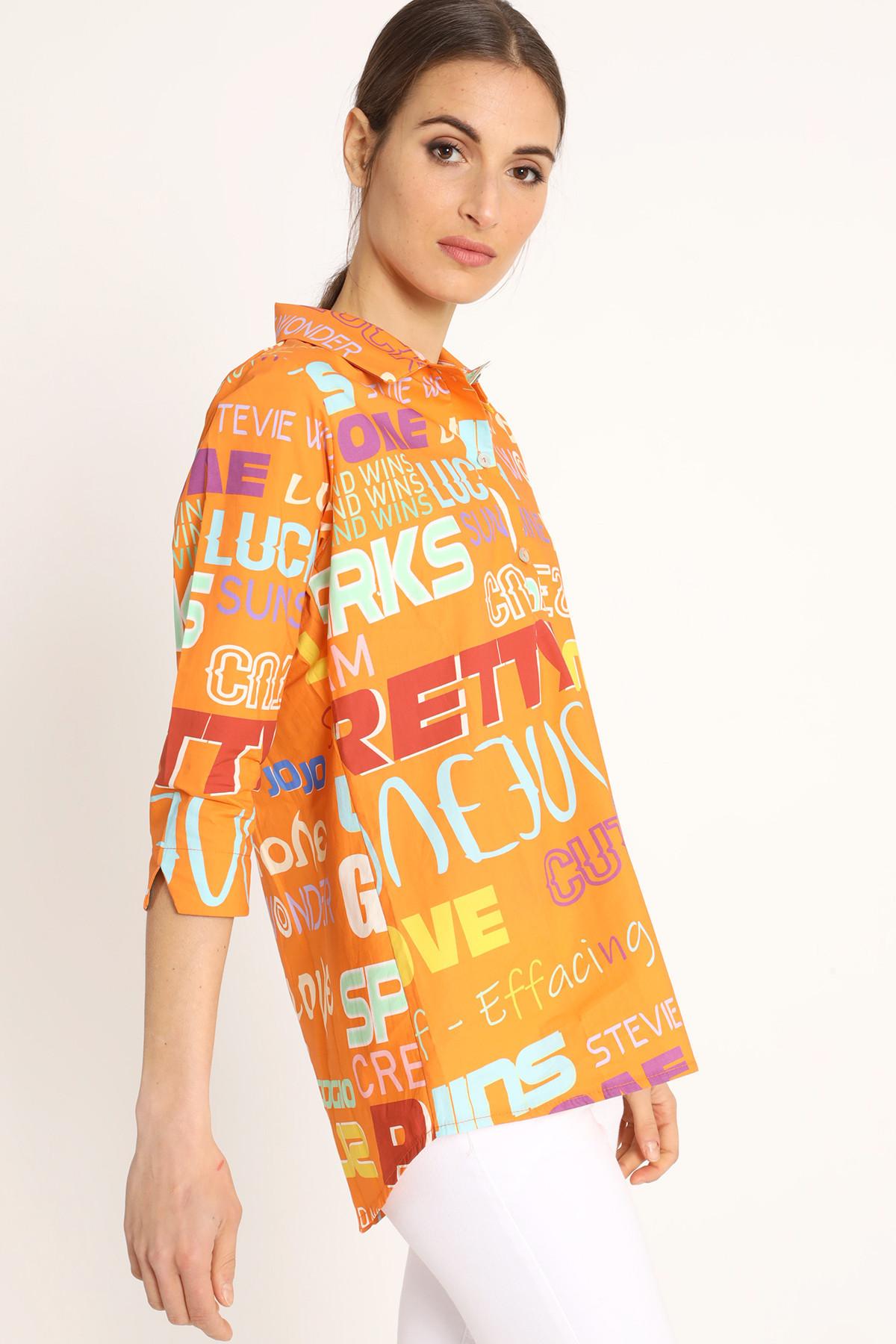 3/4 Sleeves Shirt Fonts Print