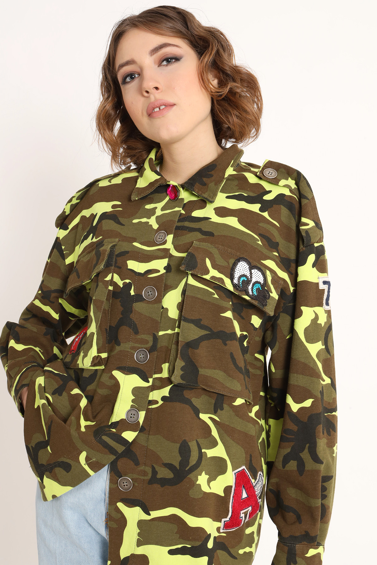 Camouflage Sweatshirt Jacket with Patches