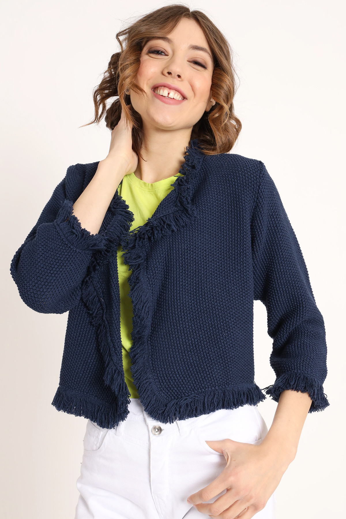 Jacket with Rever and Fringed Bottom
