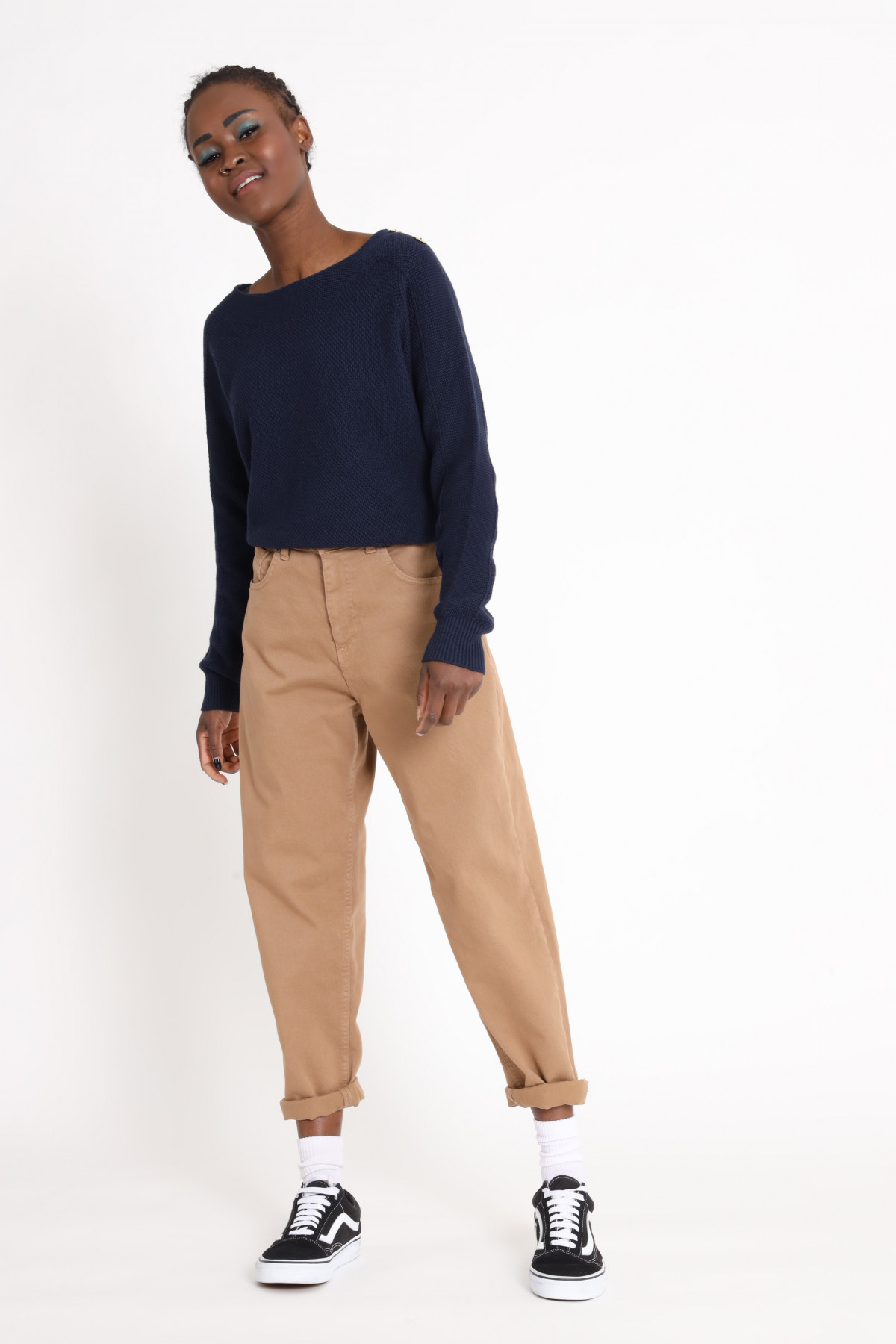 Boat Neck Sweater with Buttons On Shoulders