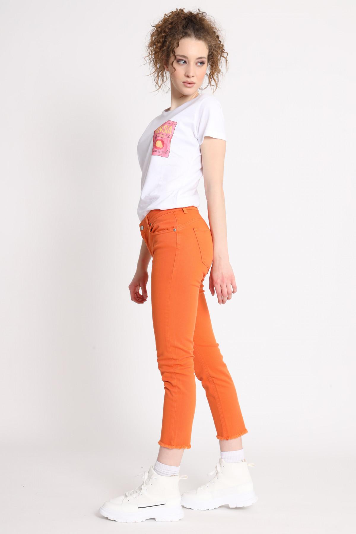 Bull Denim Skinny Jeans with Fringed Bottom
