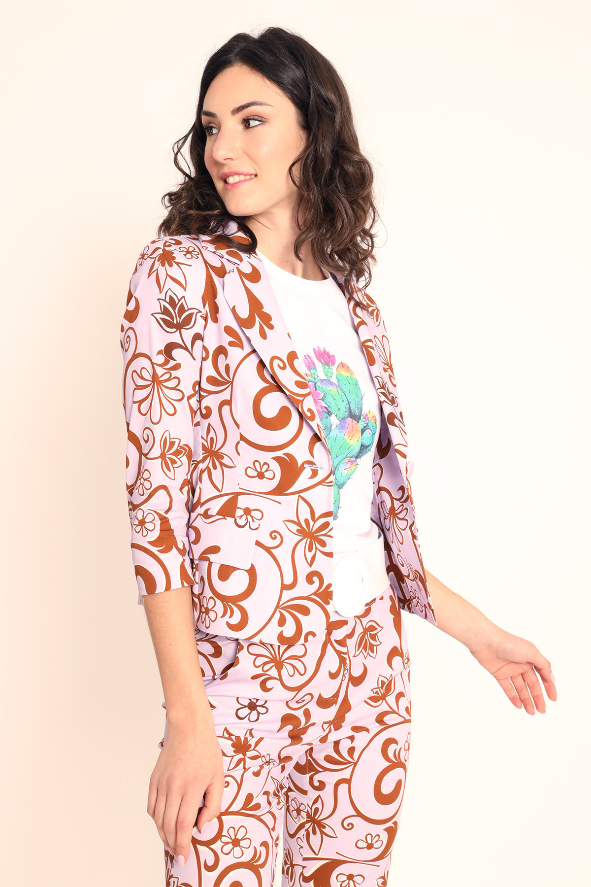 Mono Button Jacket Floral Print 3/4 Sleeve