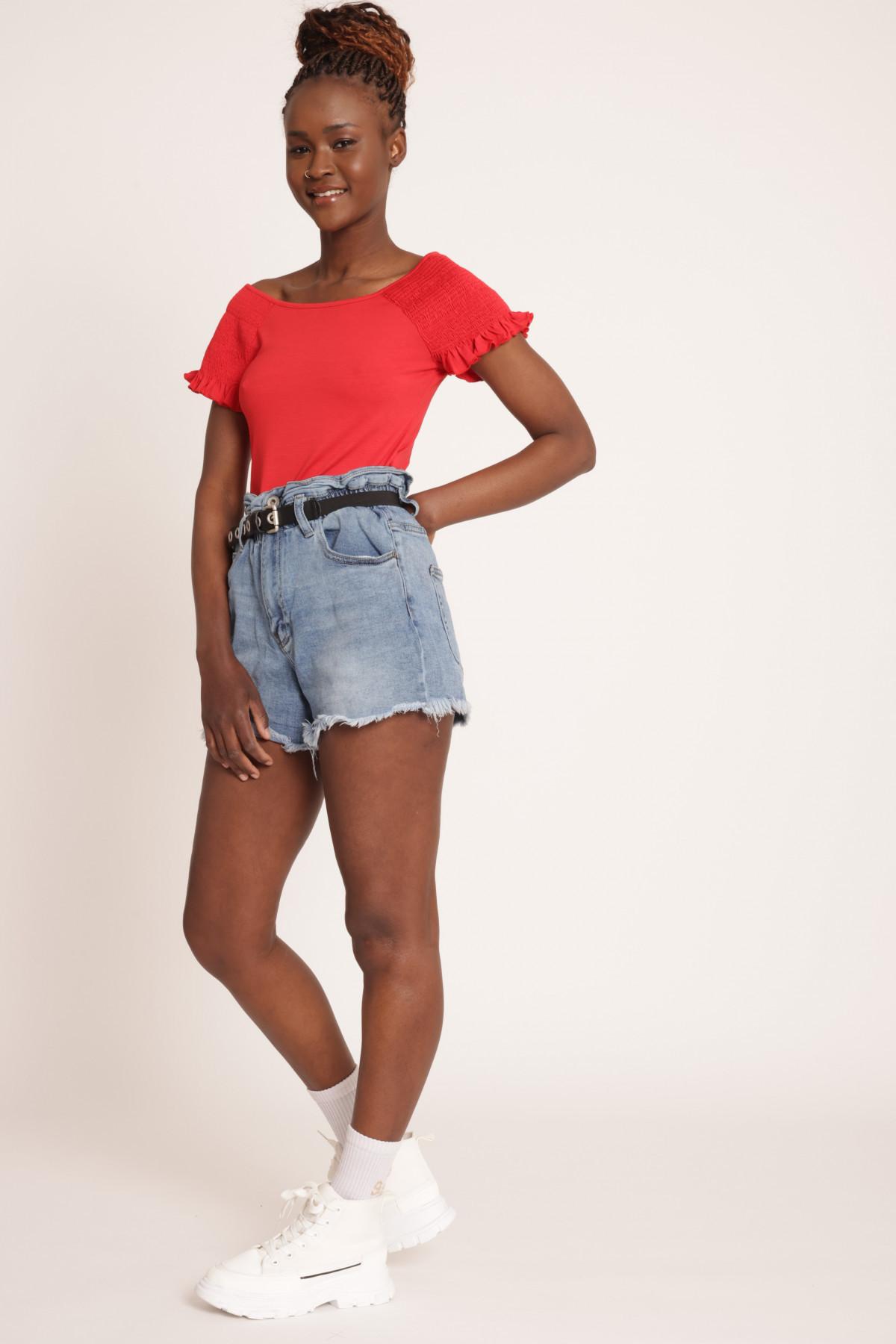 Candy Denim Shorts Fringed Bottom
