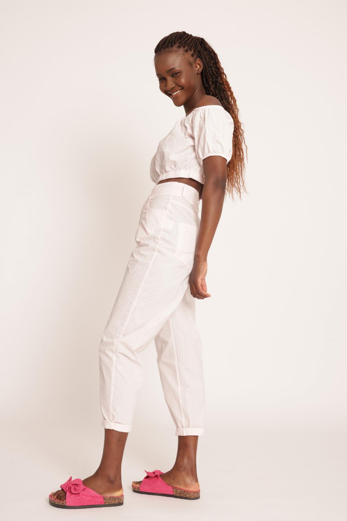 5 Pockets High Waist Striped Trousers
