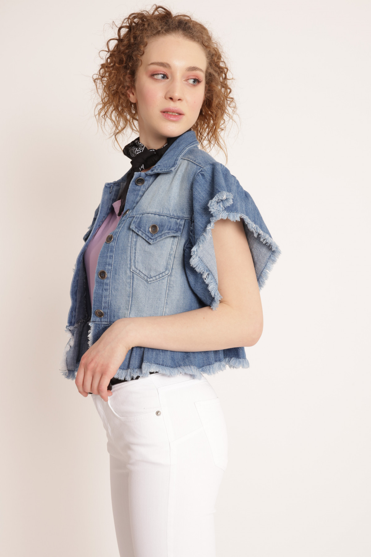 Denim Vest with Fringed Rouches