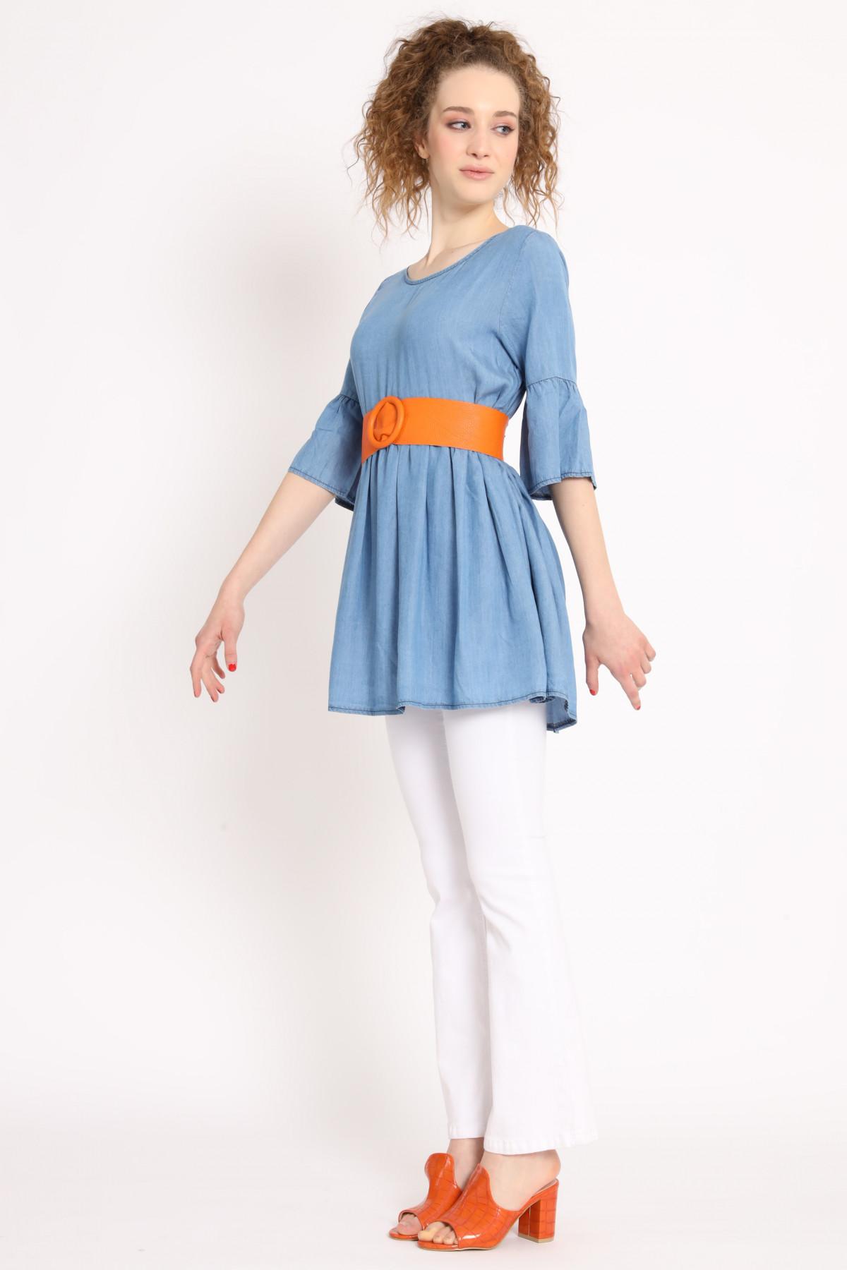 Mini Dress with 3/4 Trumpet Sleeve