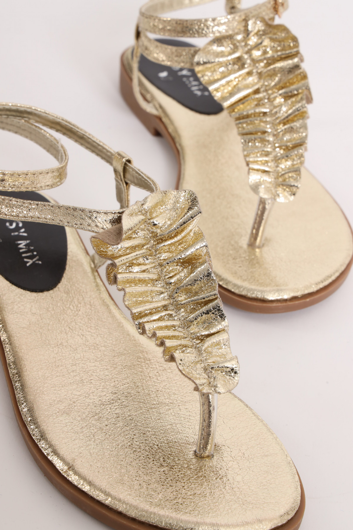 Flat Sandal With Laminated Frappina