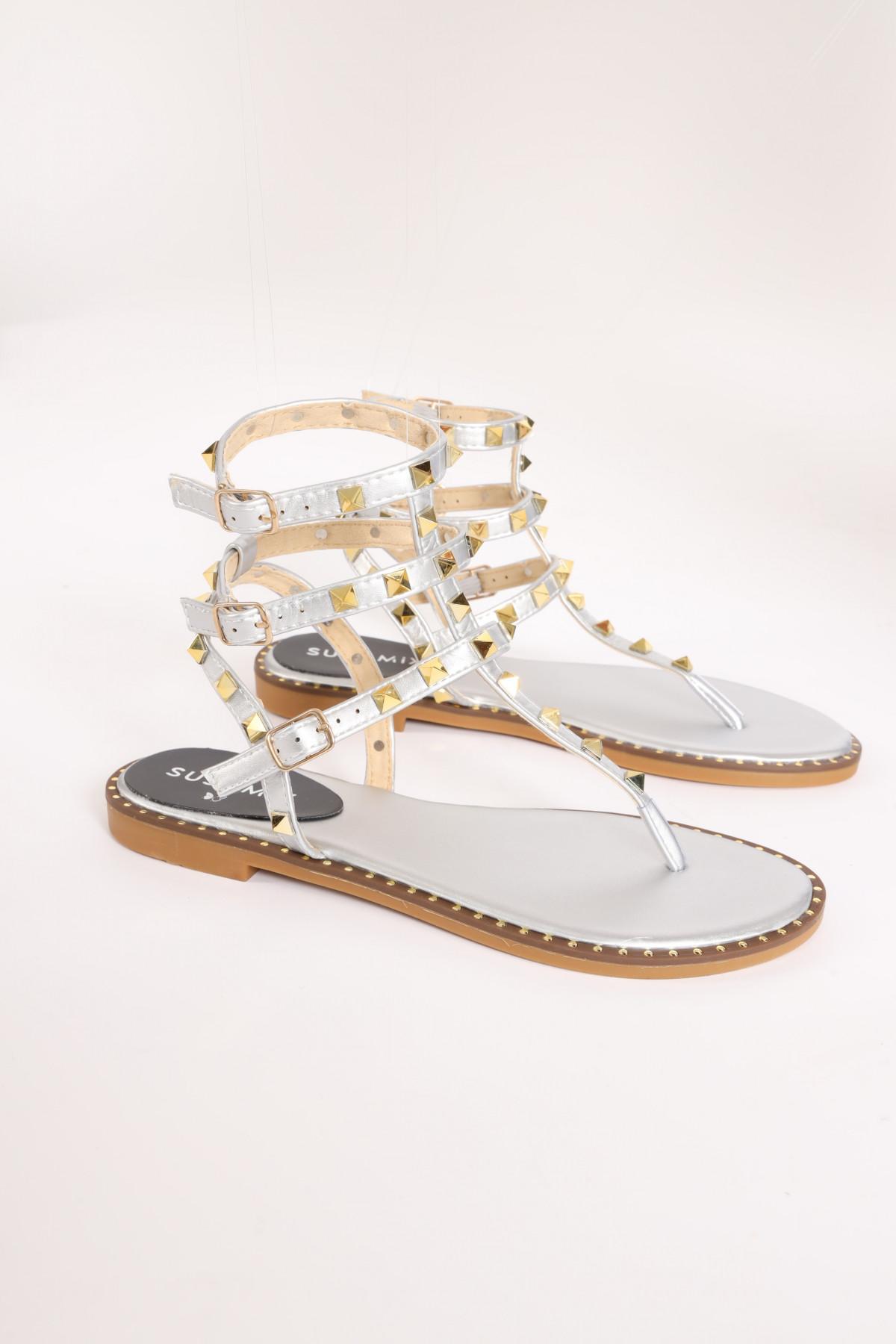 Flat Sandal with Triple Strap and Pyramid Studs