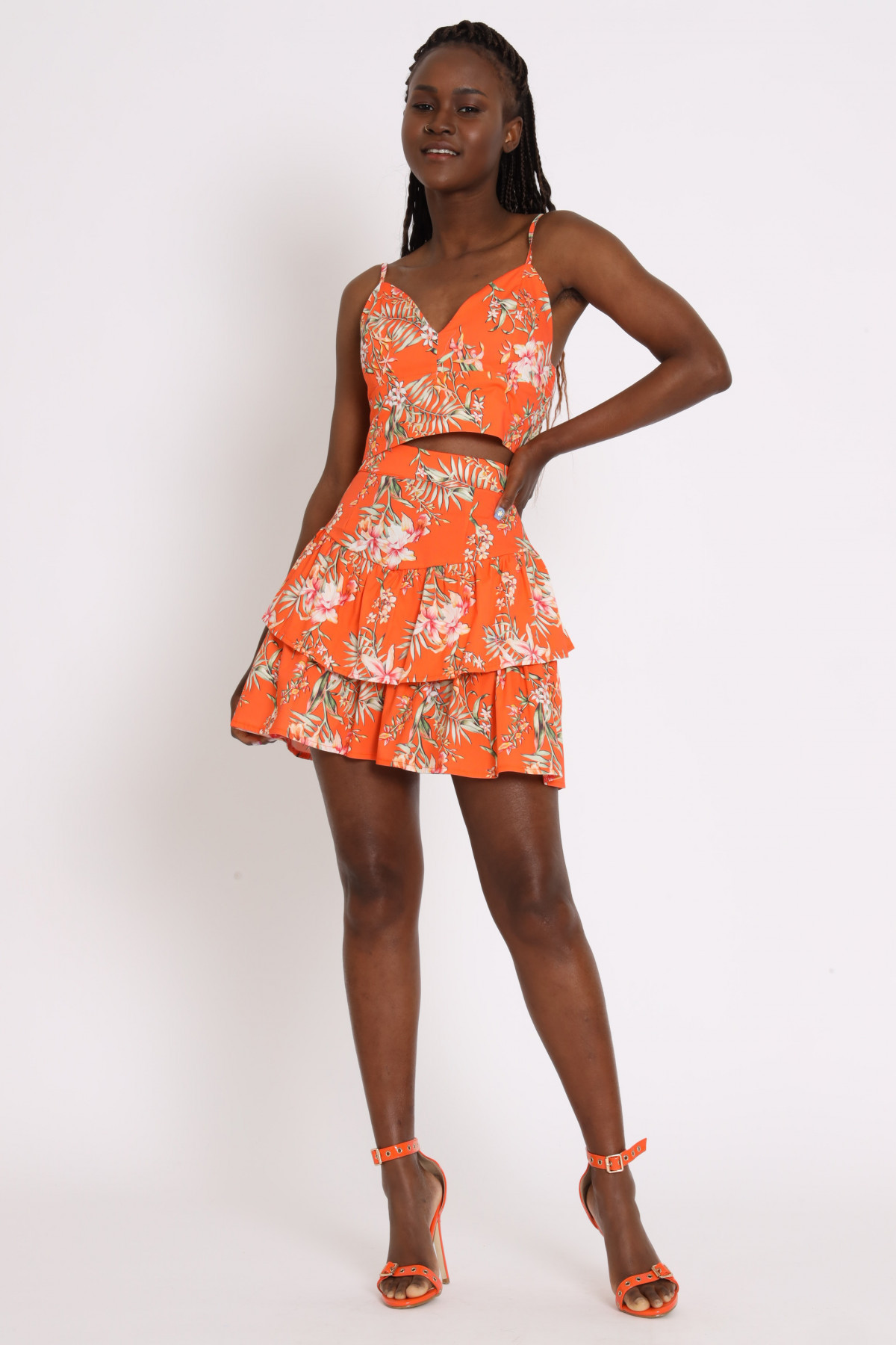 Mini Skirt with Flounce in Floral Print
