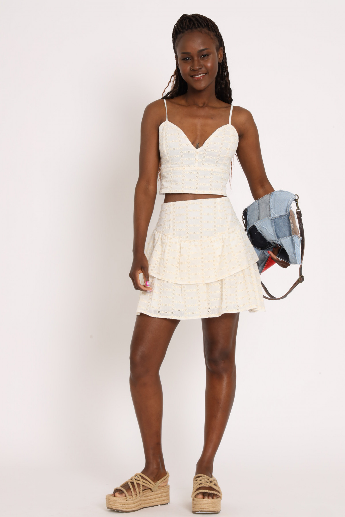 Mini Skirt with Flounce In Operated Cotton
