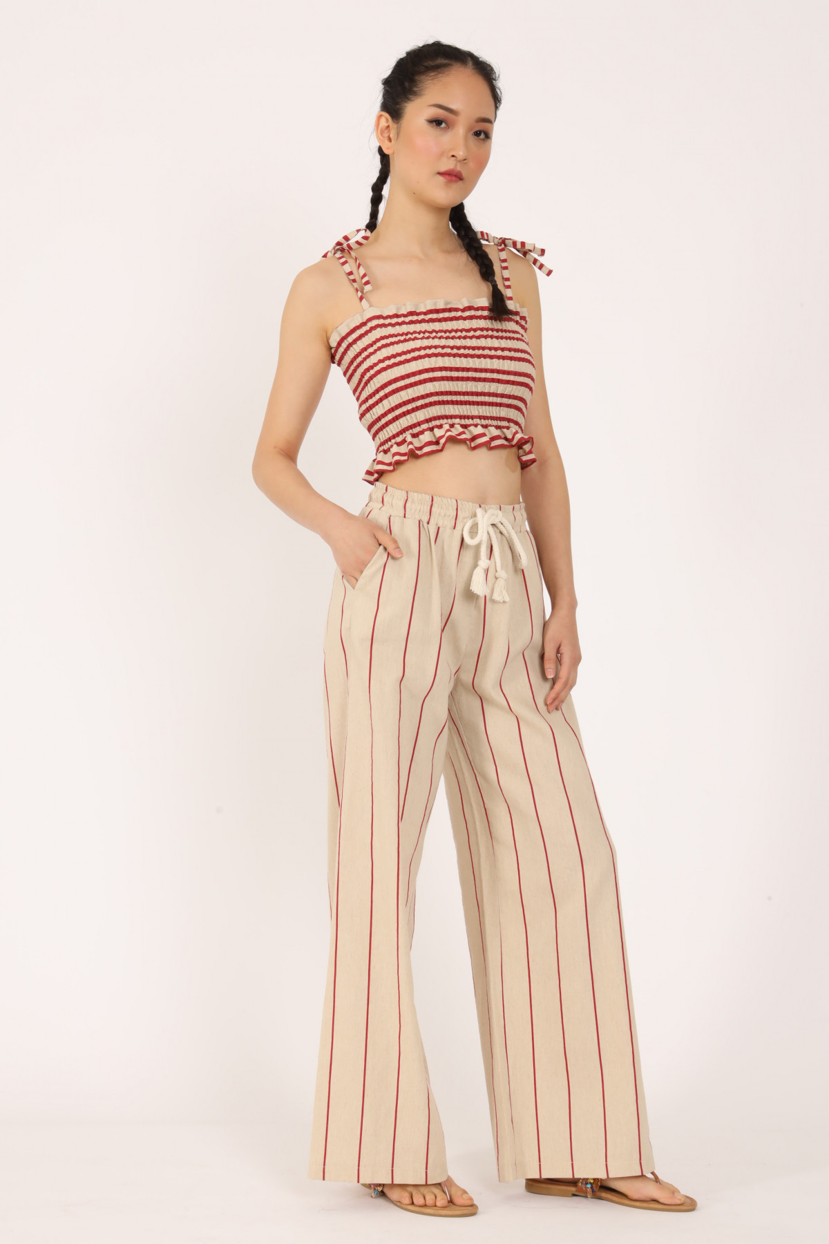 Palazzo Striped Trousers with Drawstring