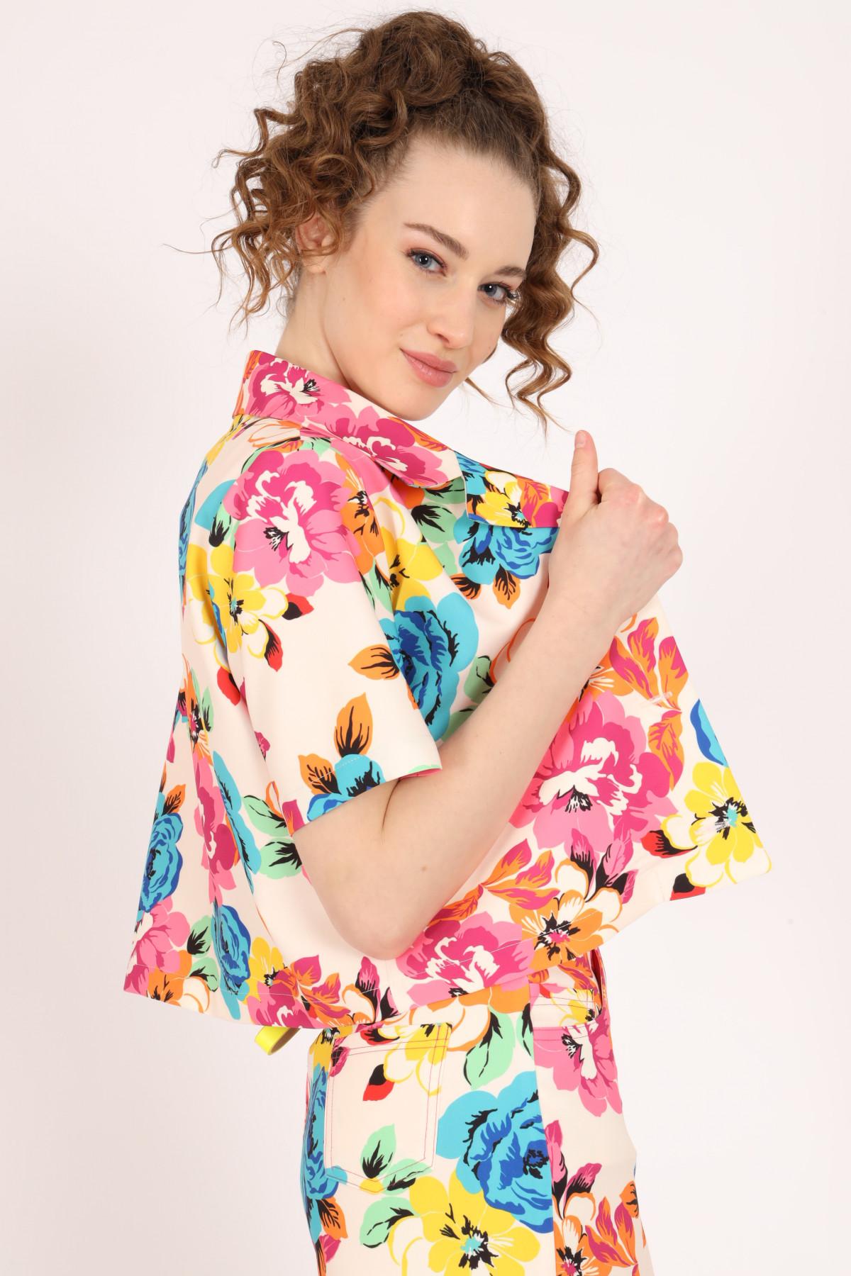 1/2 Sleeve Floral Print Jacket