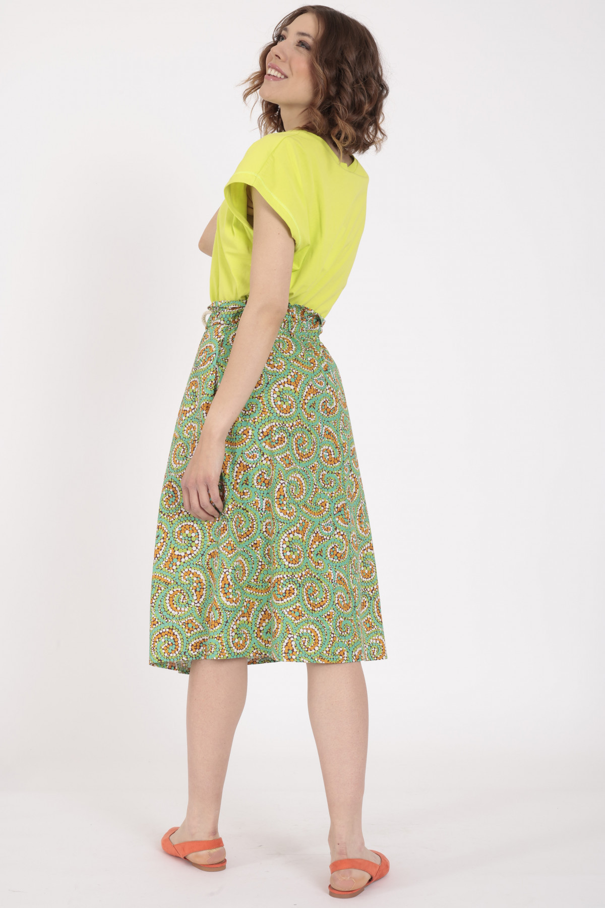 Flared Skirt in Multicolor Dotted Print
