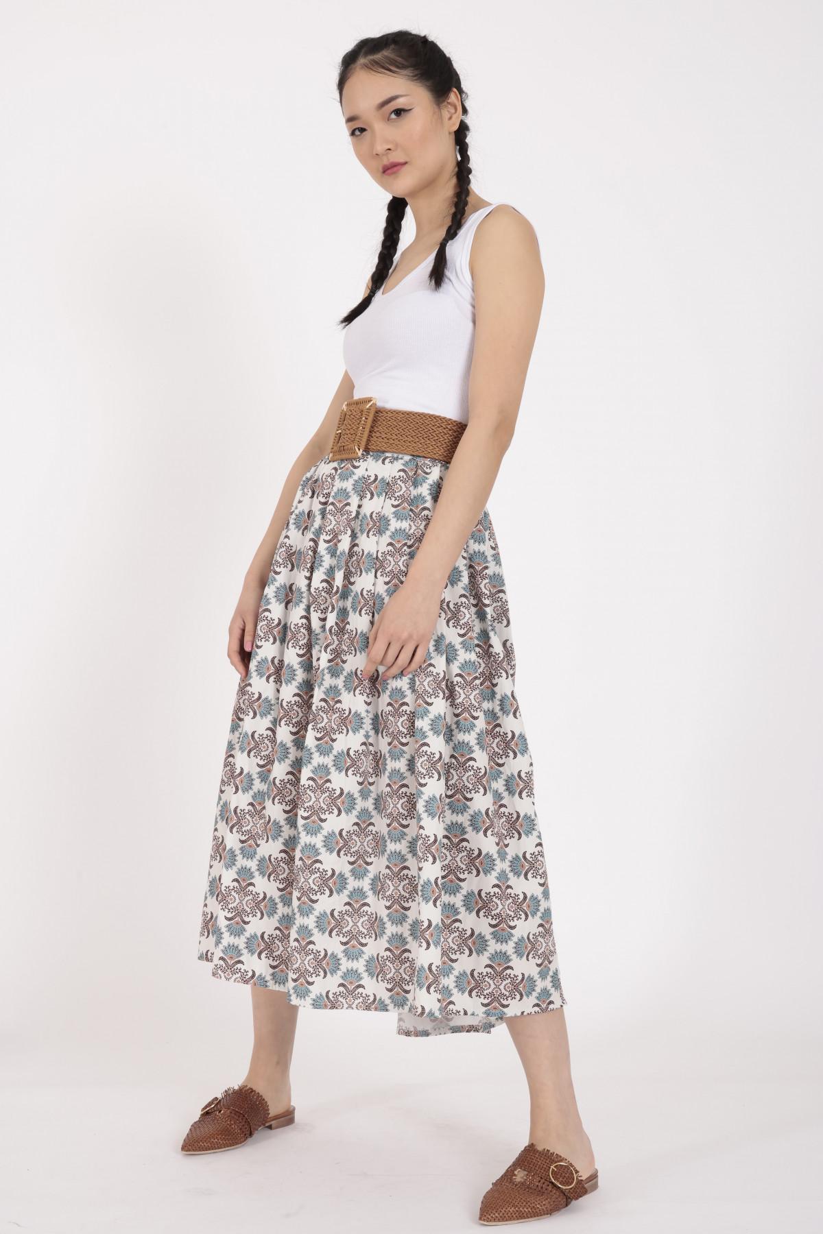 Flared Optical Print Skirt