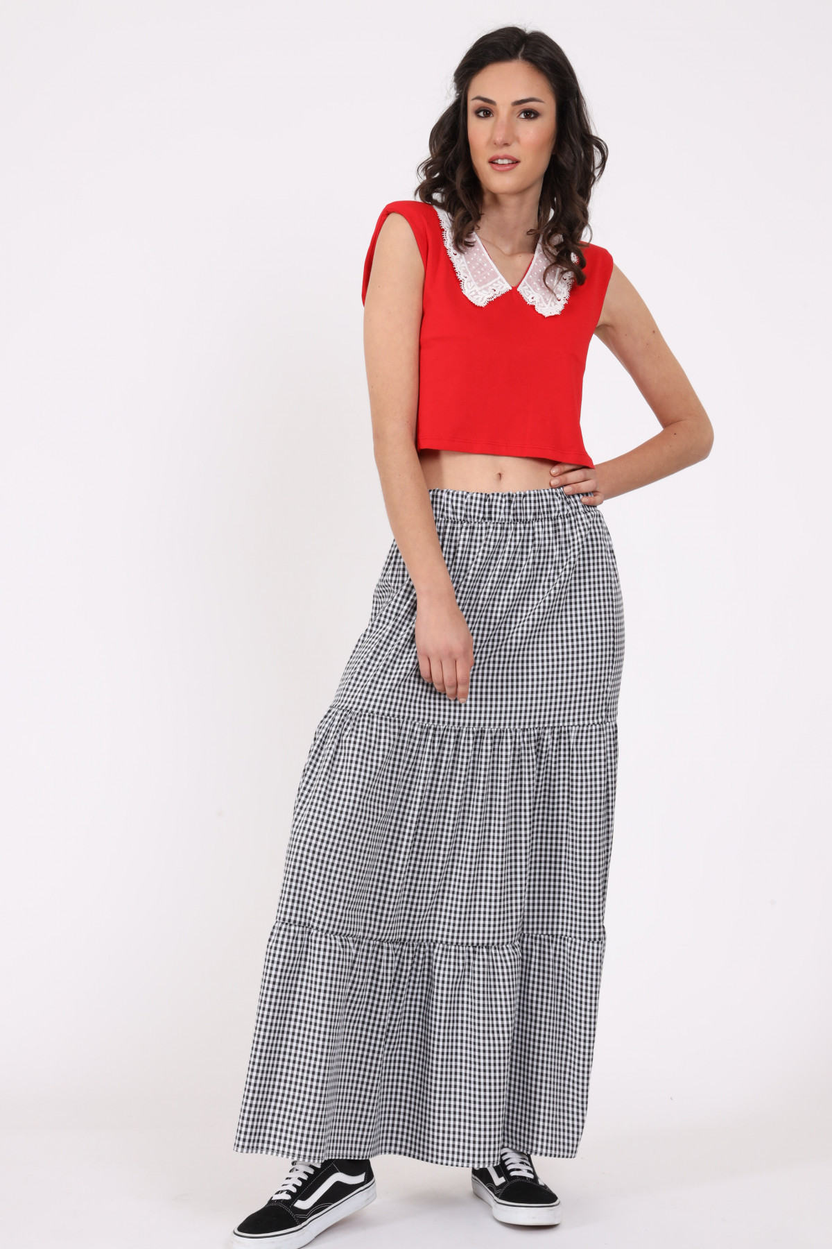 Long Vichy Skirt with Flounces
