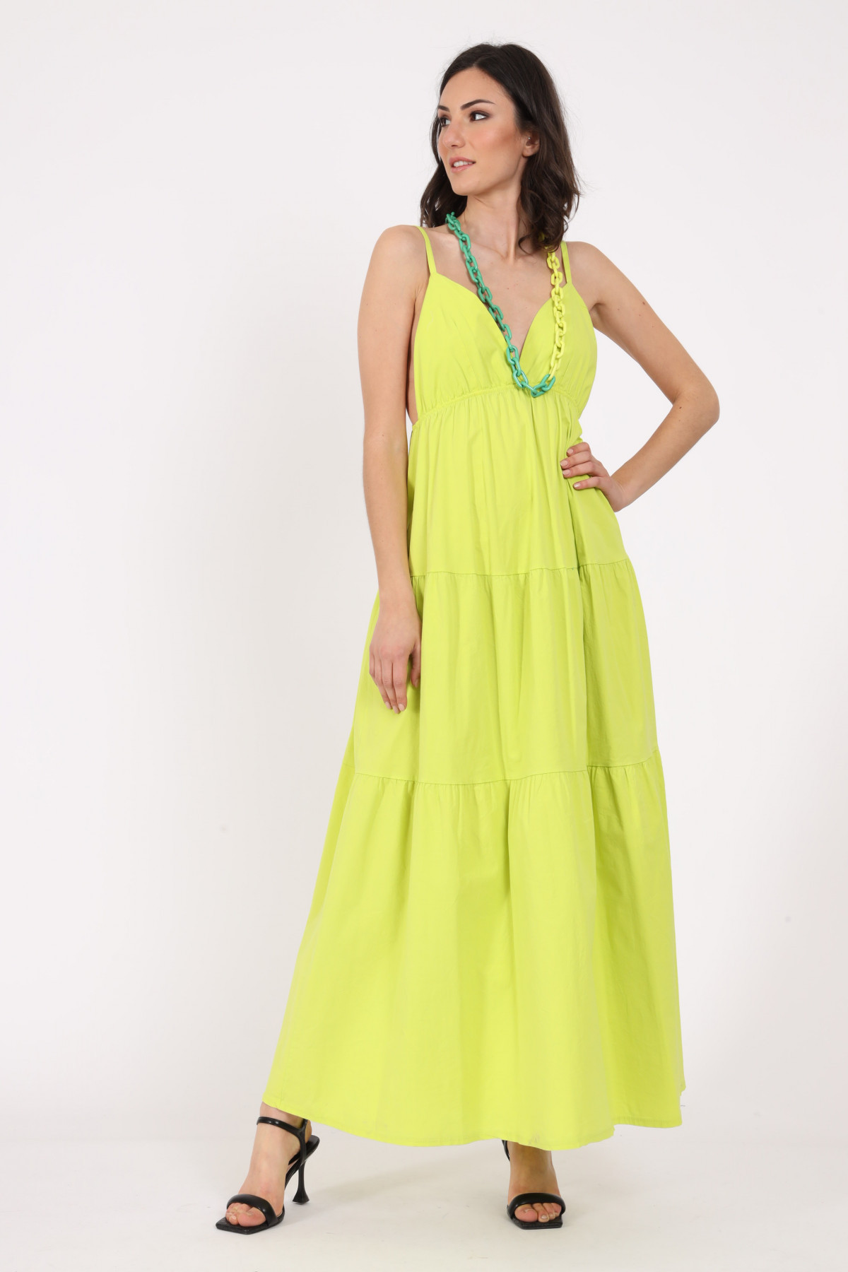 Dress with thin straps and flounces
