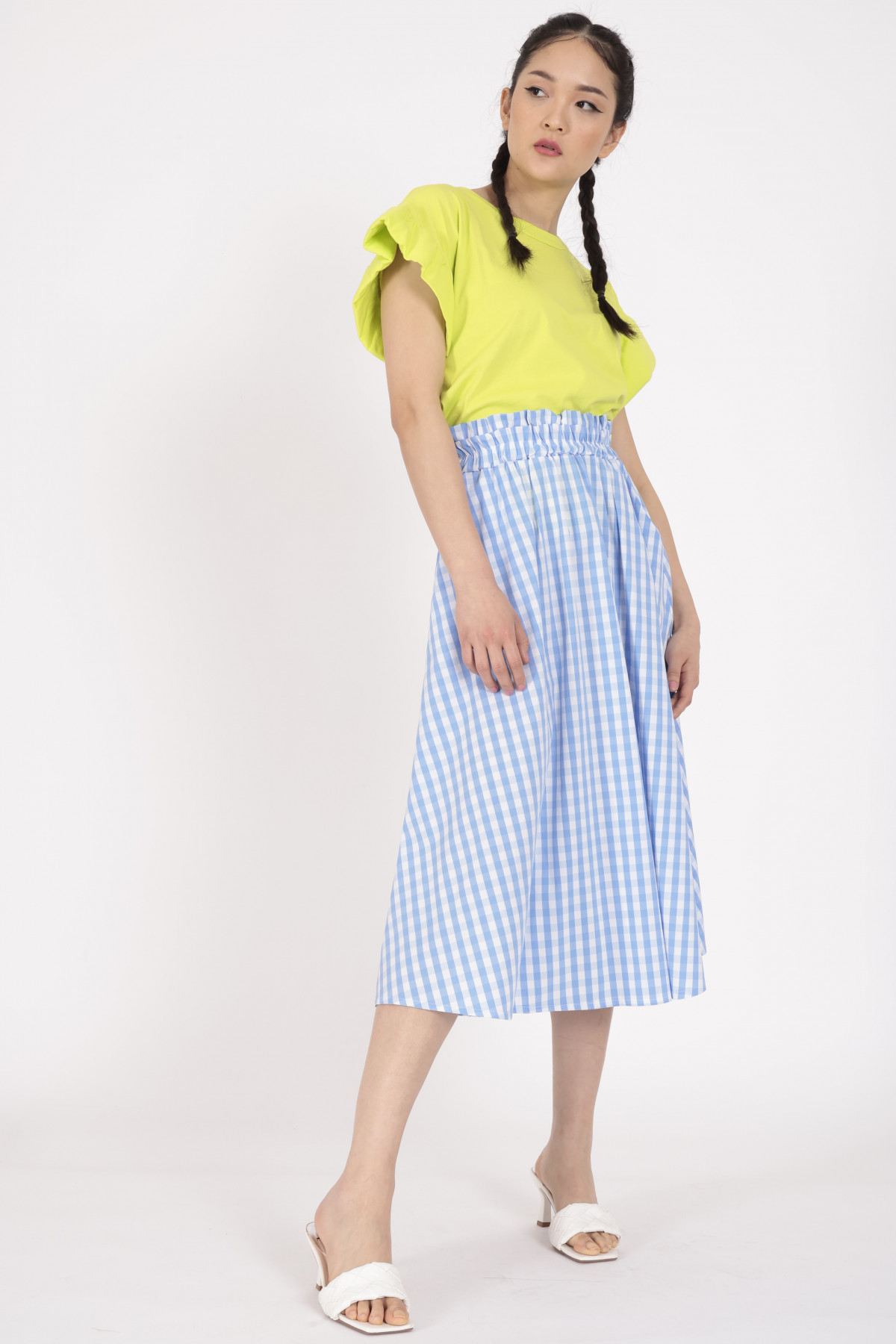 Flared skirt in Vichy