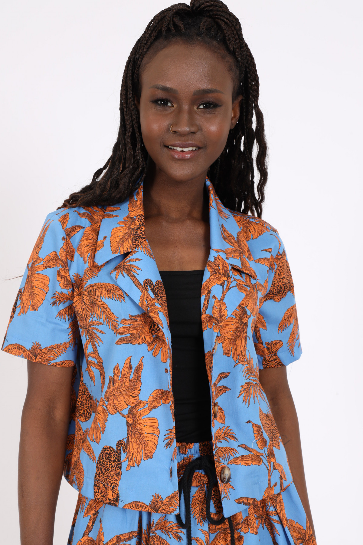 1/2 Sleeve Jacket in Afro Fantasy Print