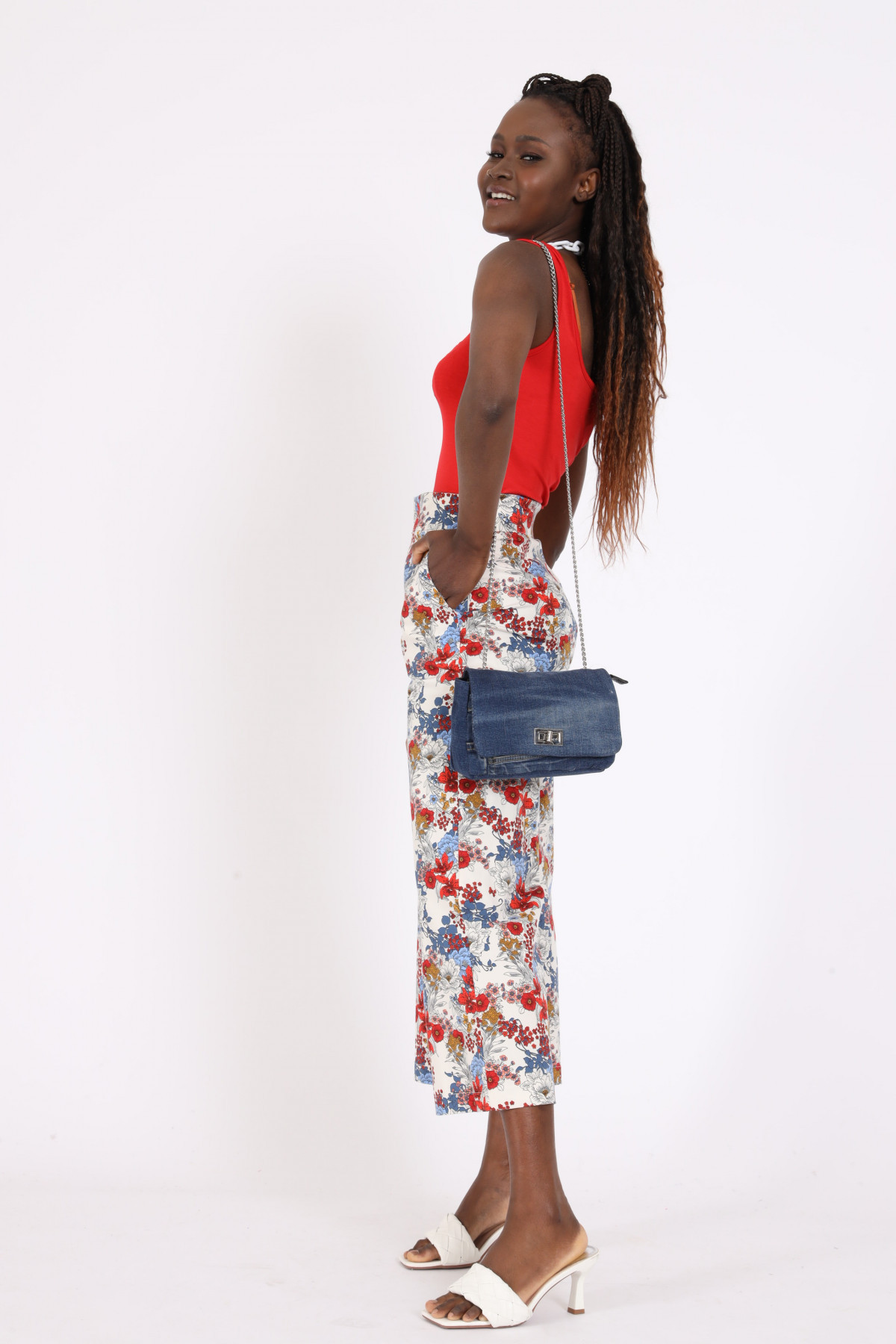 High Waist Cropped Trousers in Floral Fantasy Print