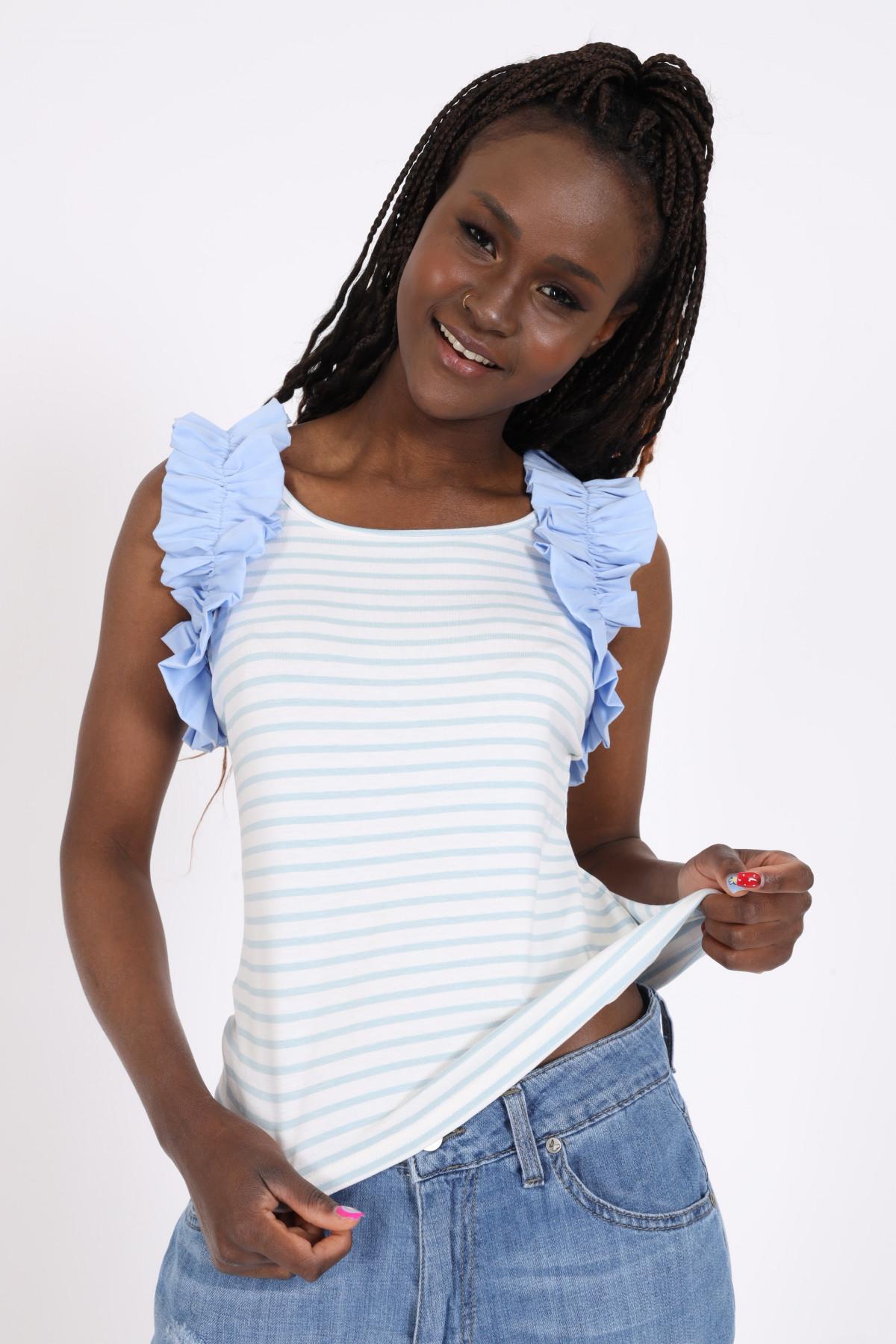 Striped tank top with rouches