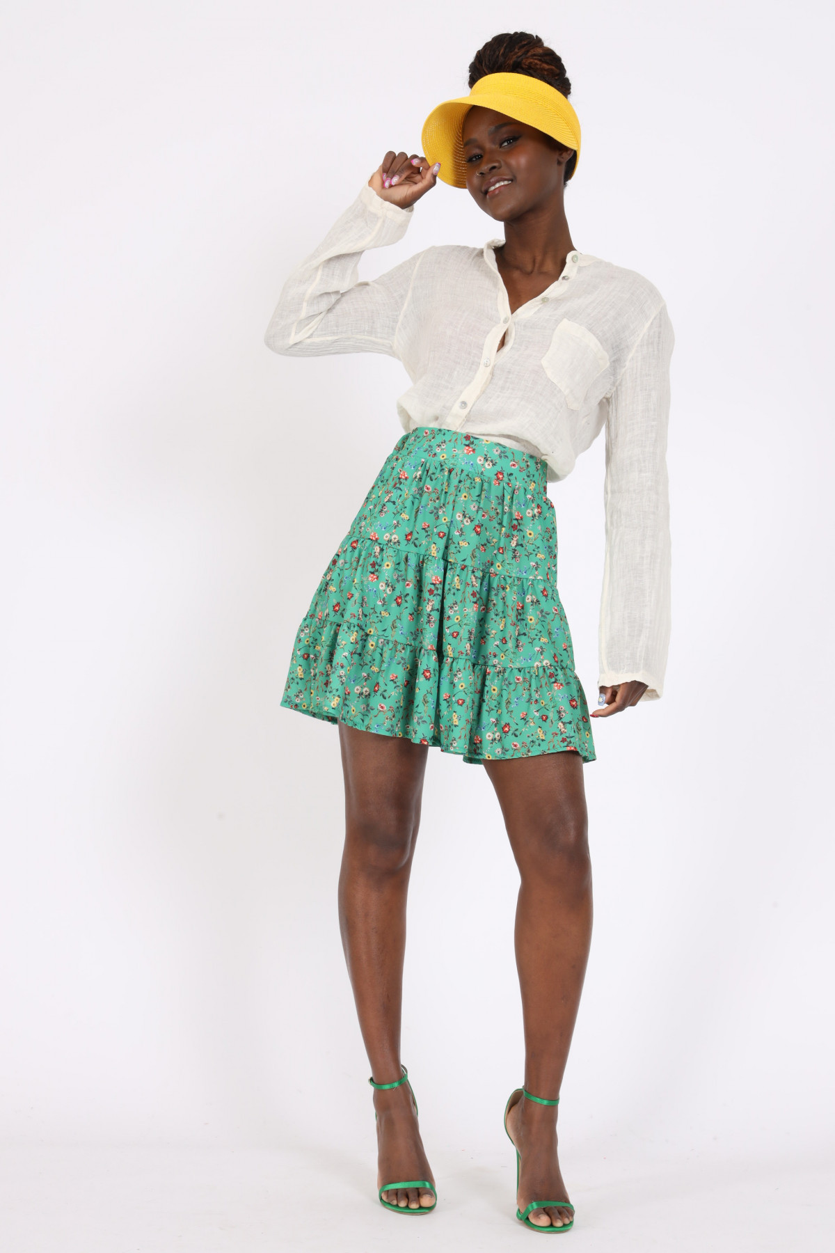 Miniskirt with Frills in Provencal Fantasy Print