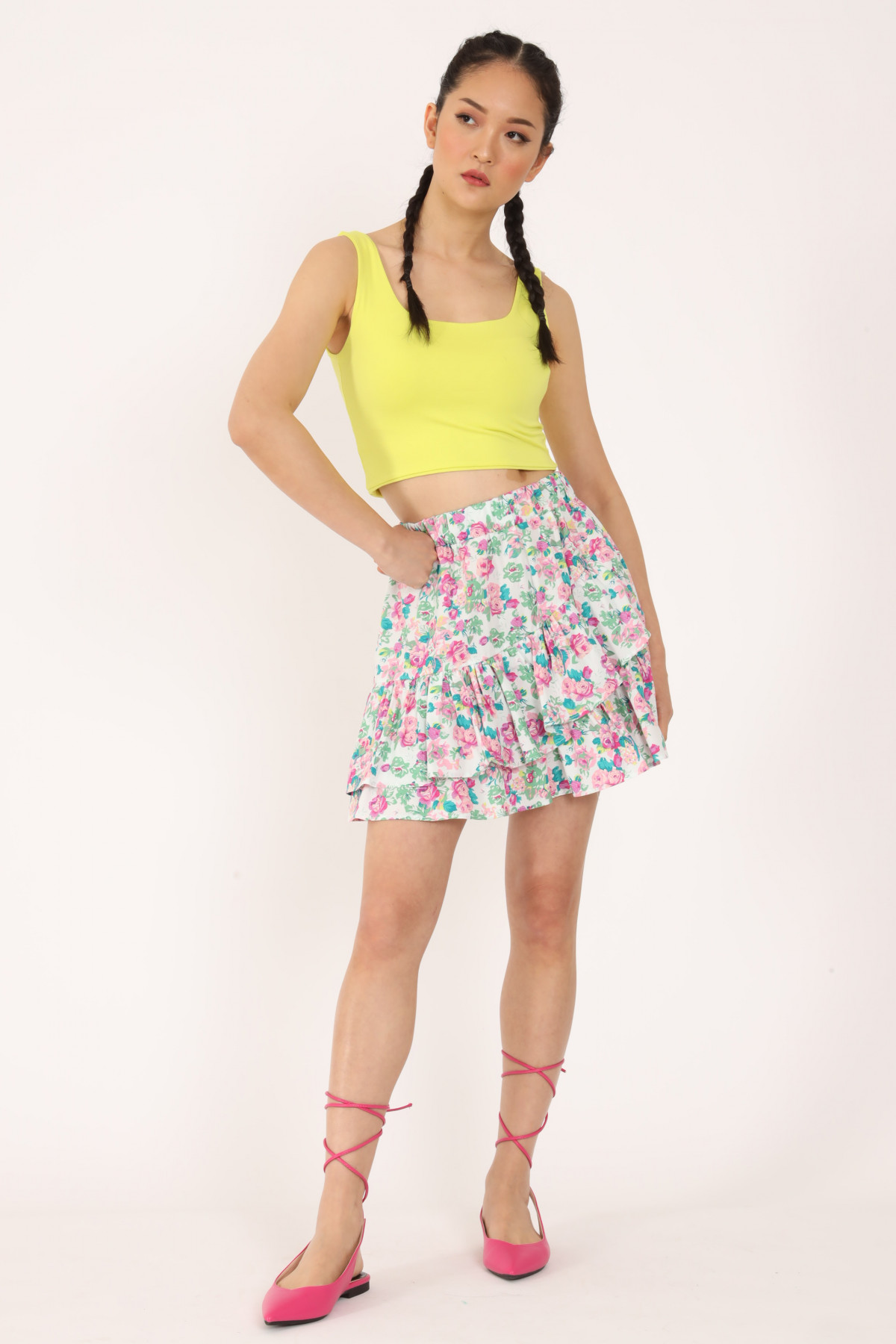 Miniskirt with Flounce in Floral Print Fantasy