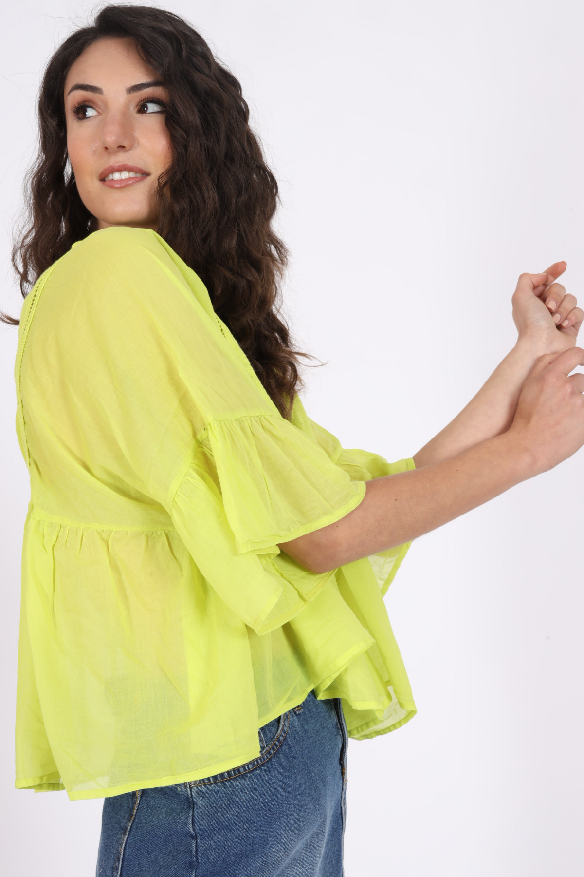 Embroidered Blouse with Trumpet Sleeves