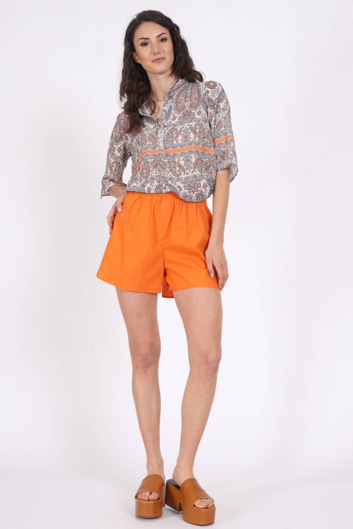1/2 Sleeve Shirt with Cashmere Fantasy Print