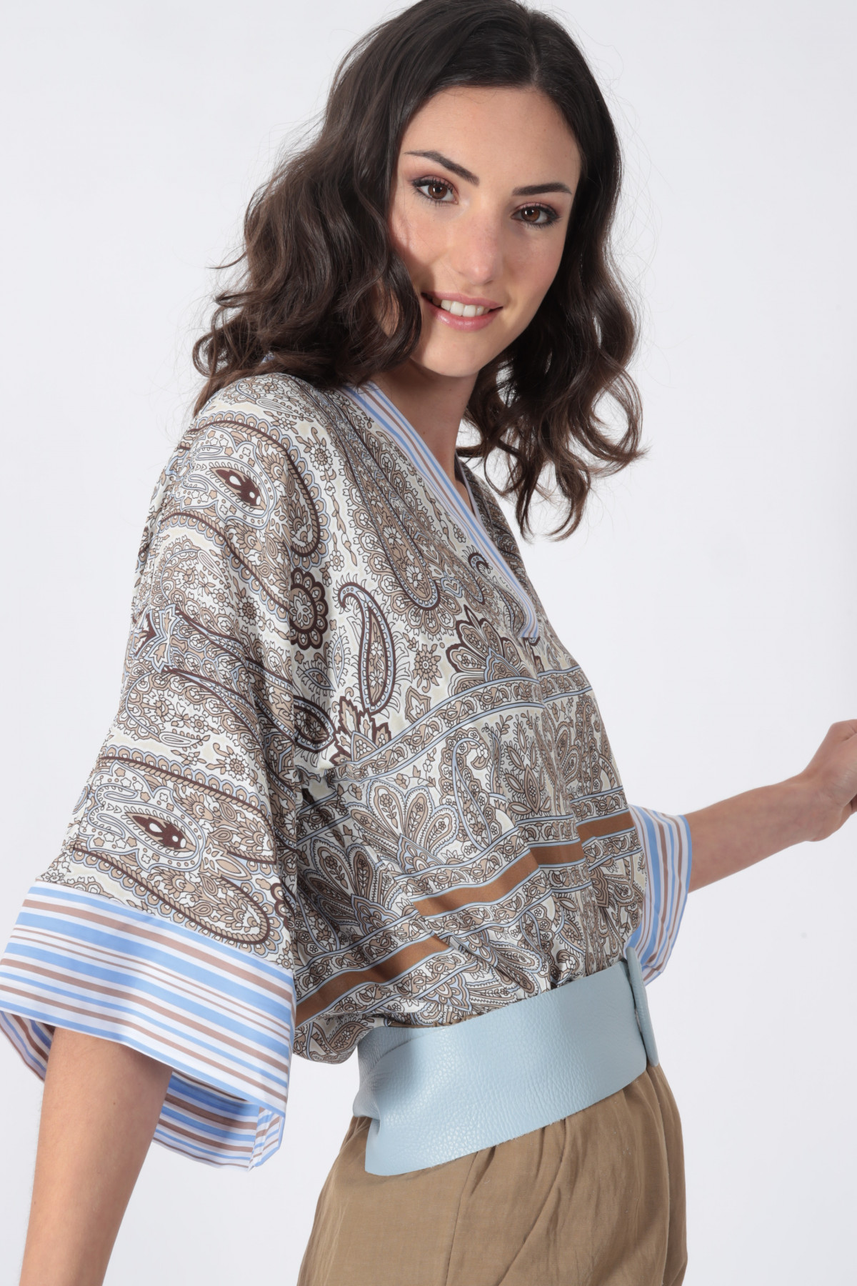 Kimono Shirt in Cashmere Fantasy Print and Pinstripe Profiles