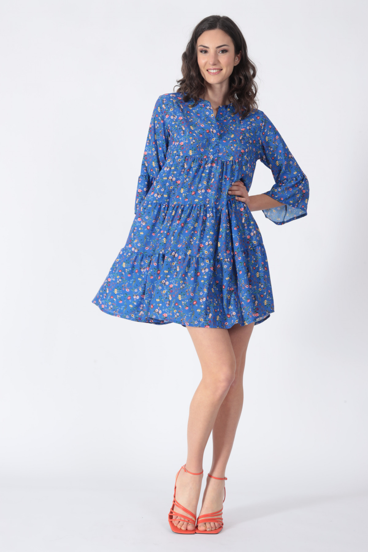 Trumpet Sleeve Dress in Provencal Fantasy Print