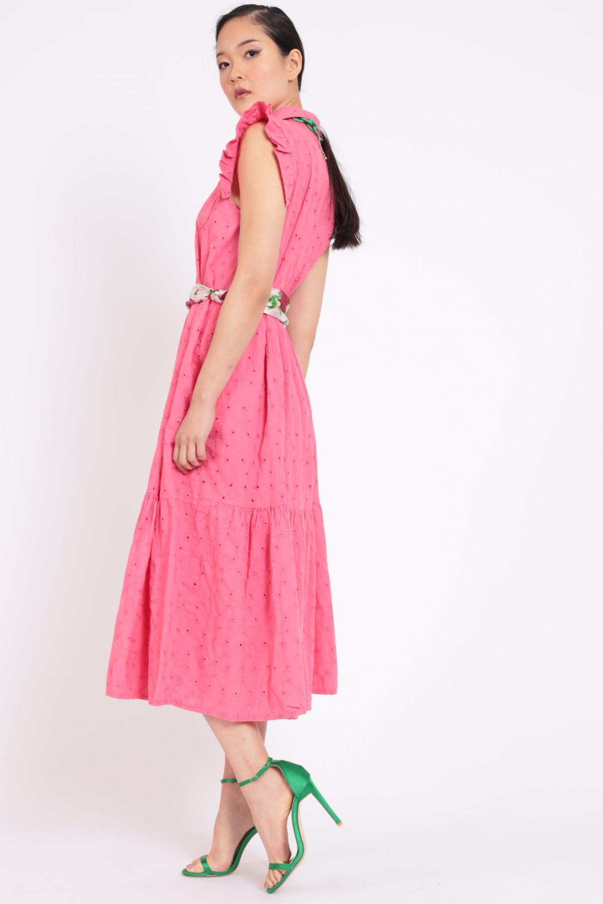 Sangallo Sleeveless Dress with Rouches