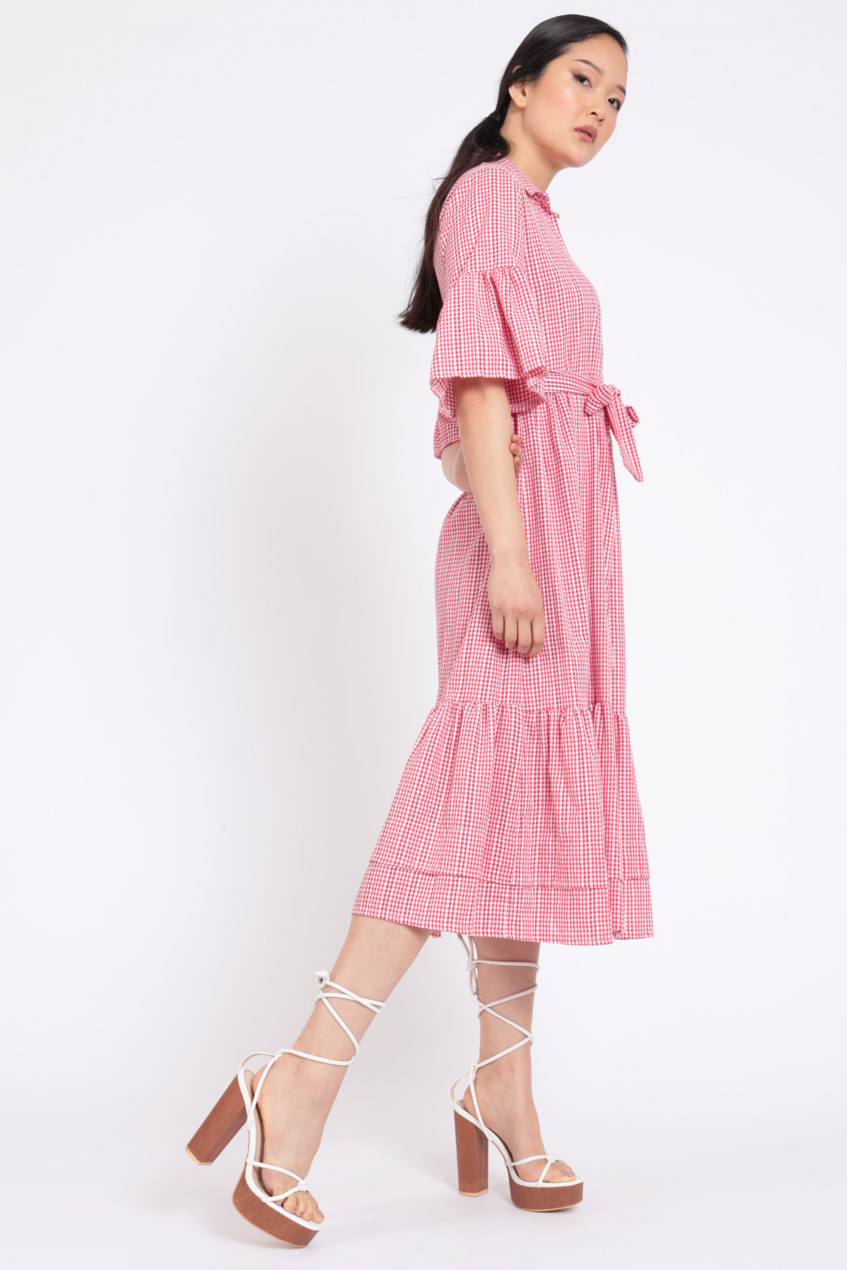 Vichy Dress with Trumpet Sleeves and Belt in Matching Color