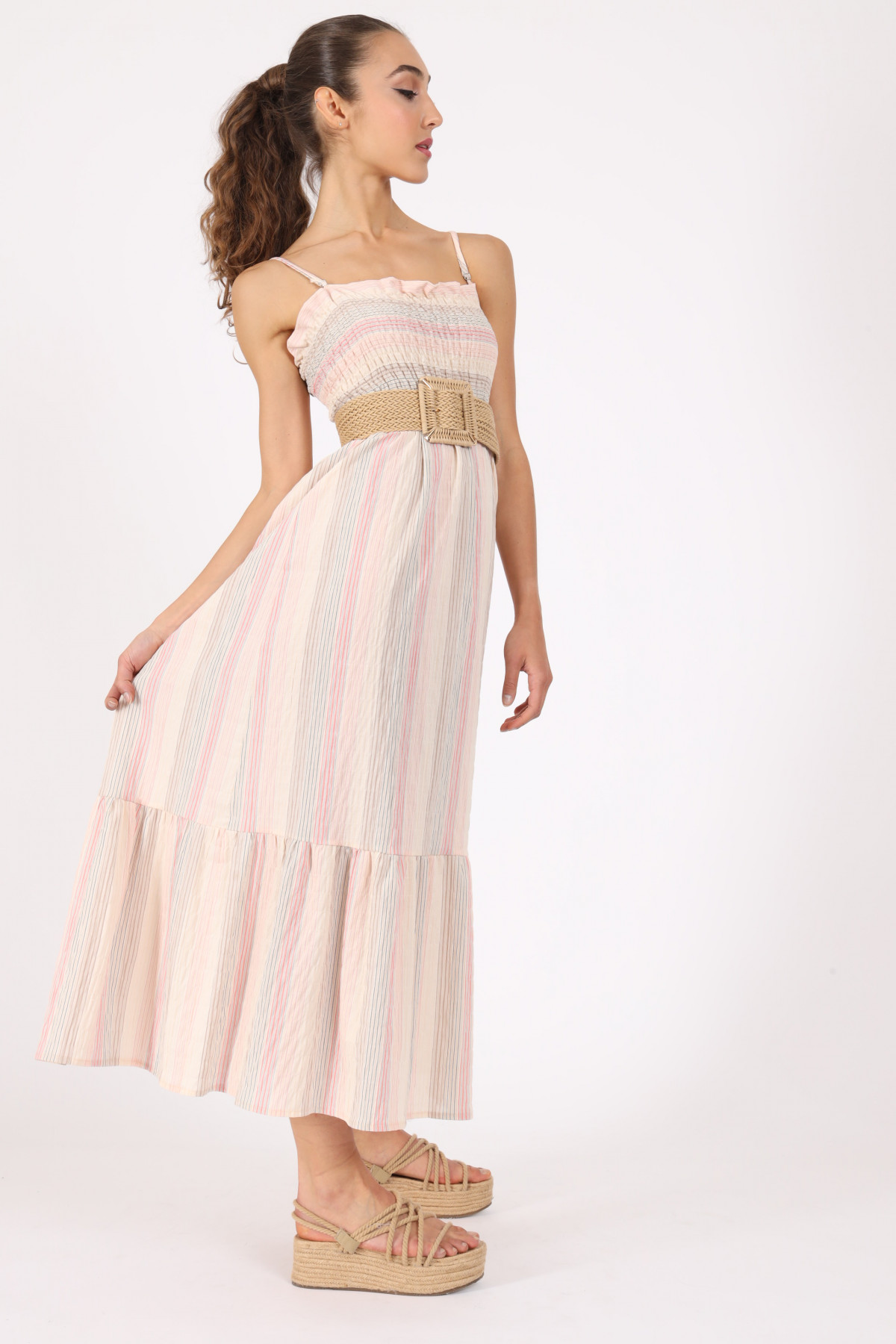Striped gathered dress with straps