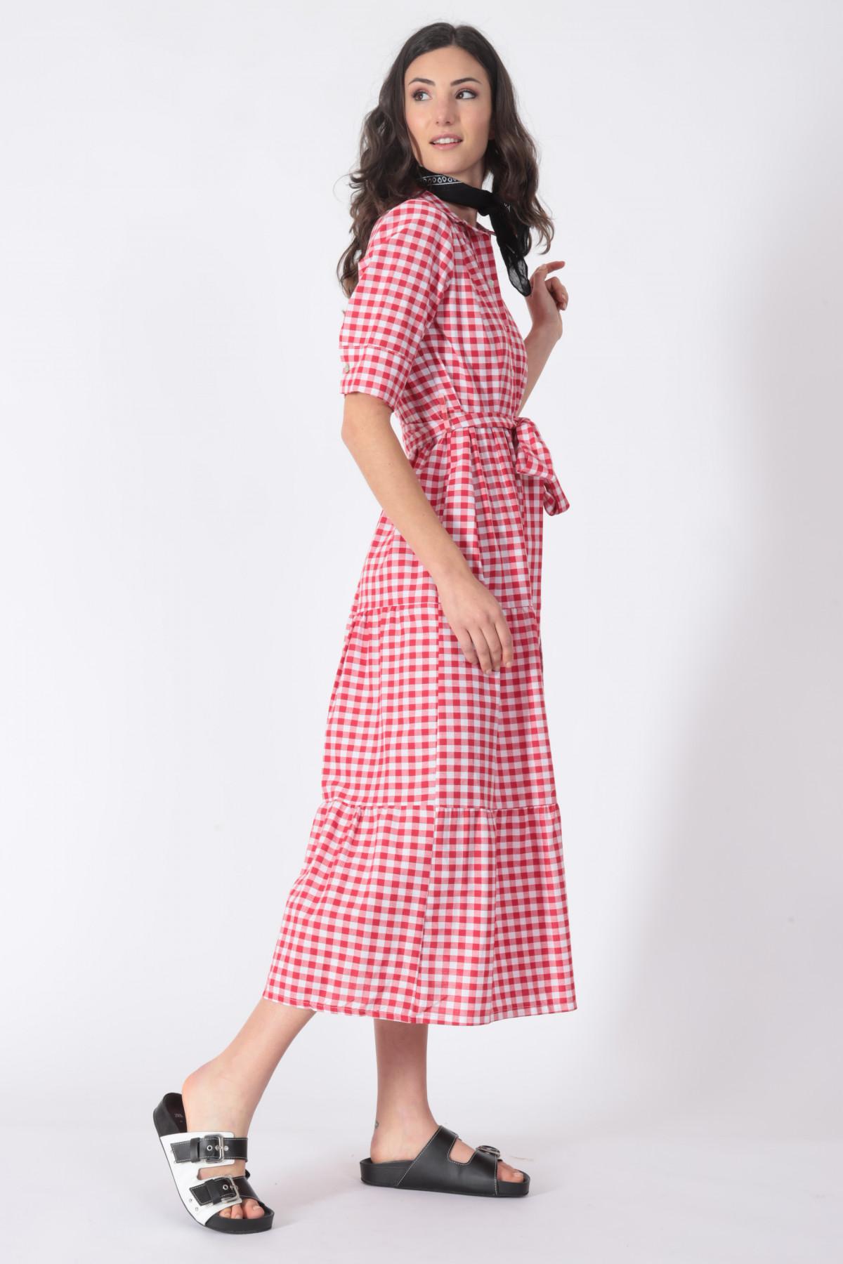 1/2 Sleeve Vichy Dress with Flounces