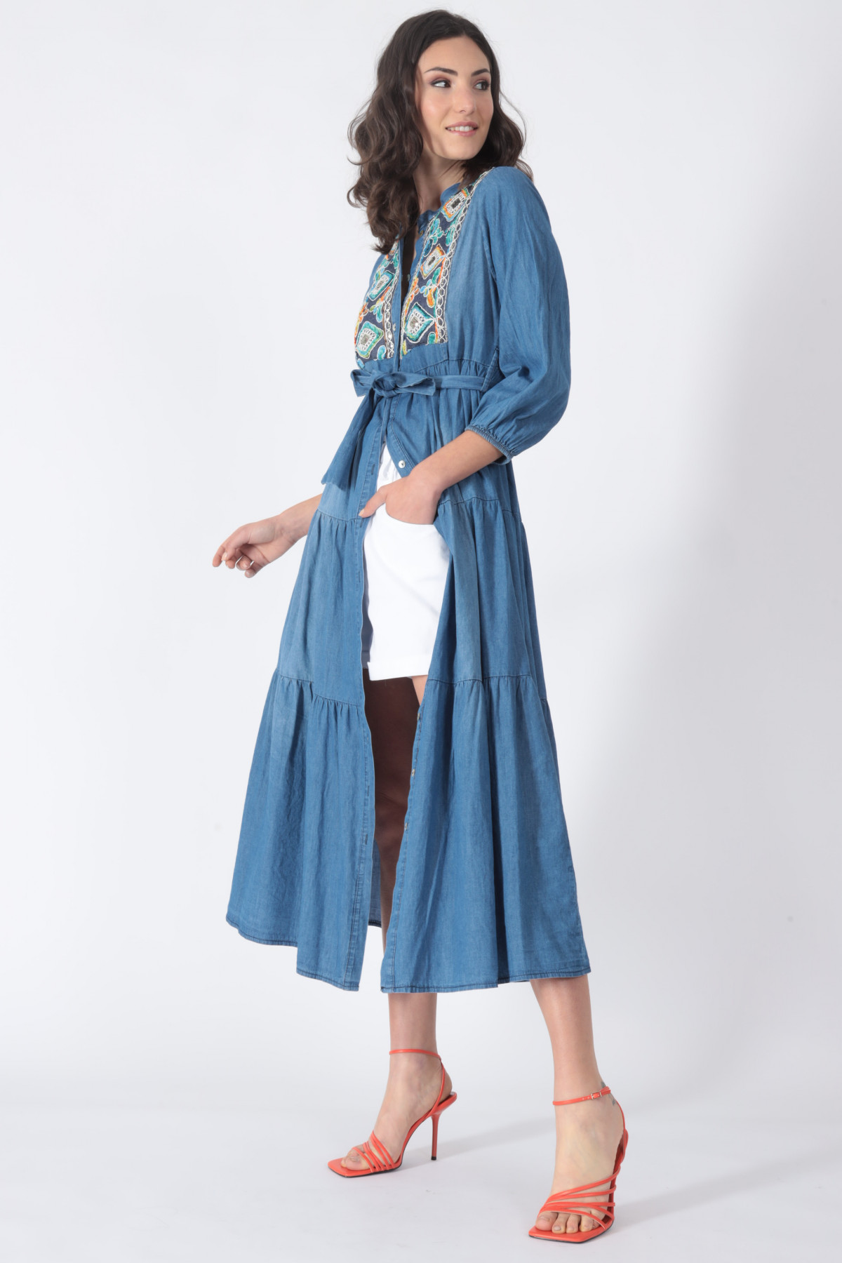 Chambray Dress with Embroidery on the Chest