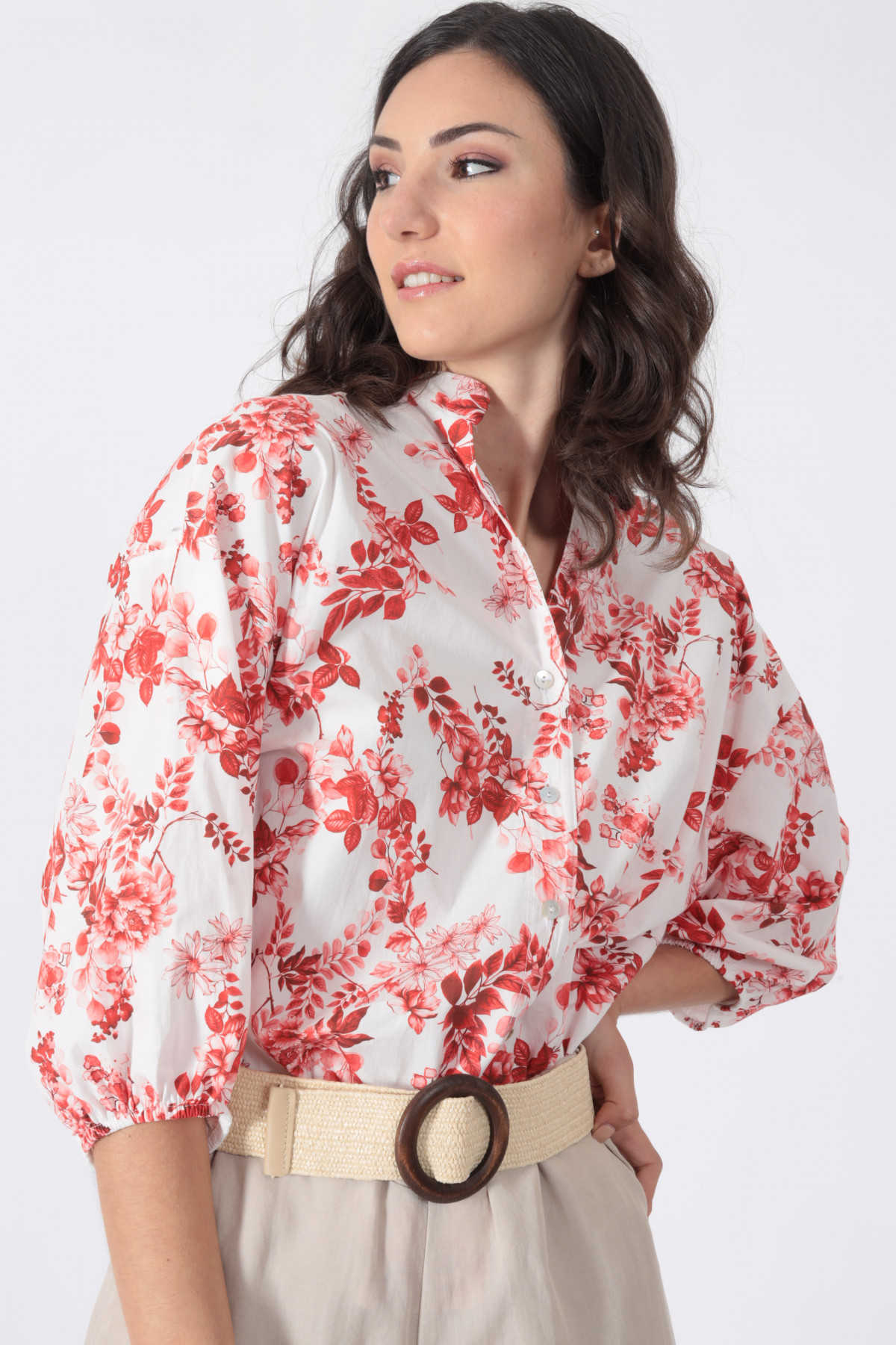 Floral Fantasy Print Shirt with Puff Sleeves