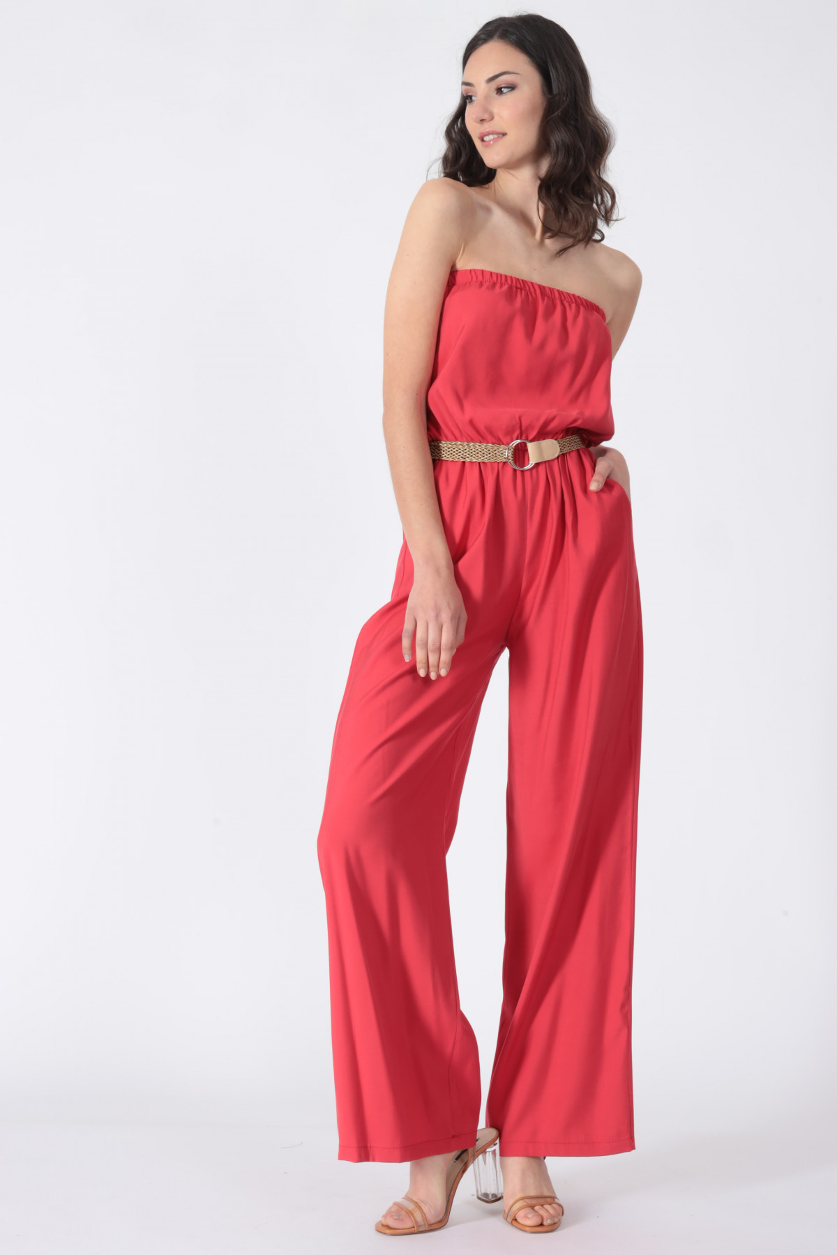 Bandeau Suit with Braided Belt