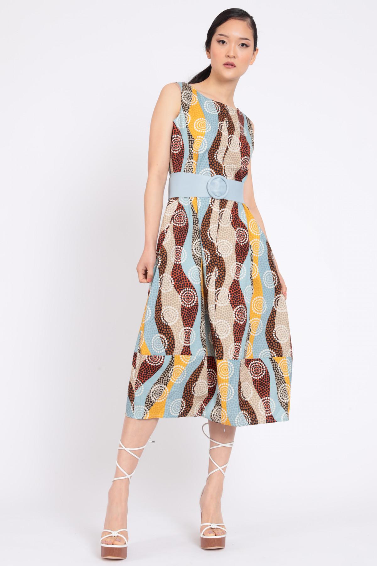 Sleeveless Dress in Optical Fantasy