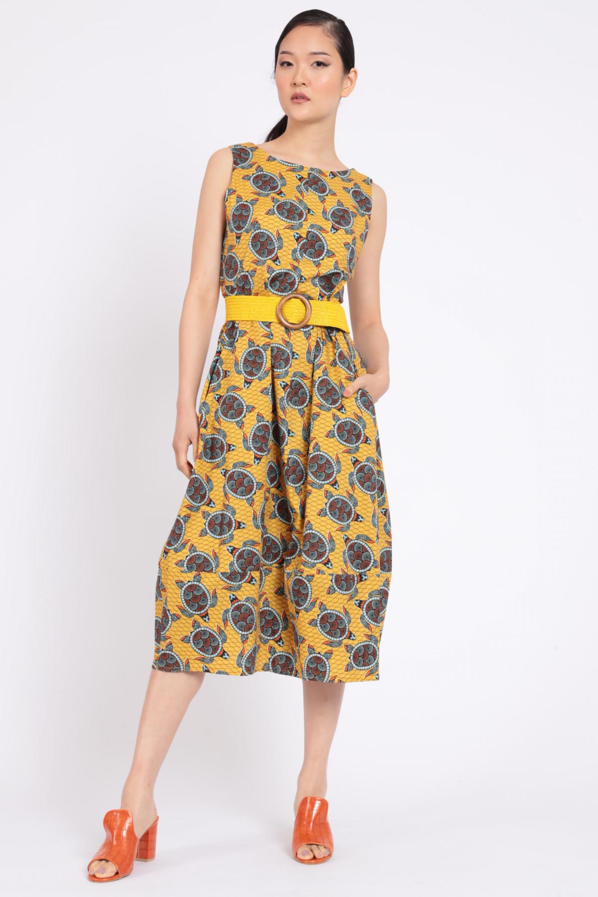 Sleeveless Dress in Afro Print Fantasy