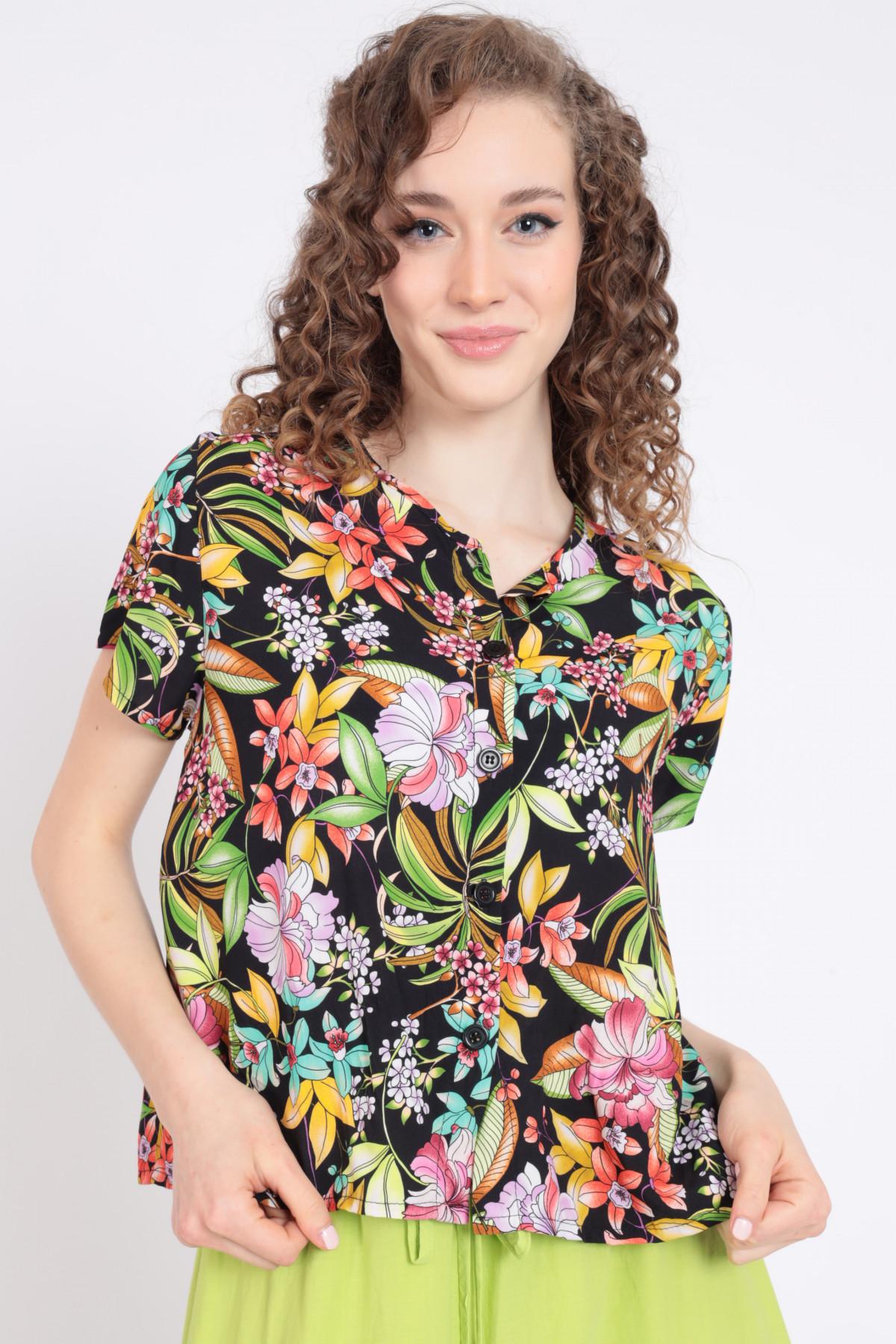 1/2 Sleeve Mandarin Collar Shirt