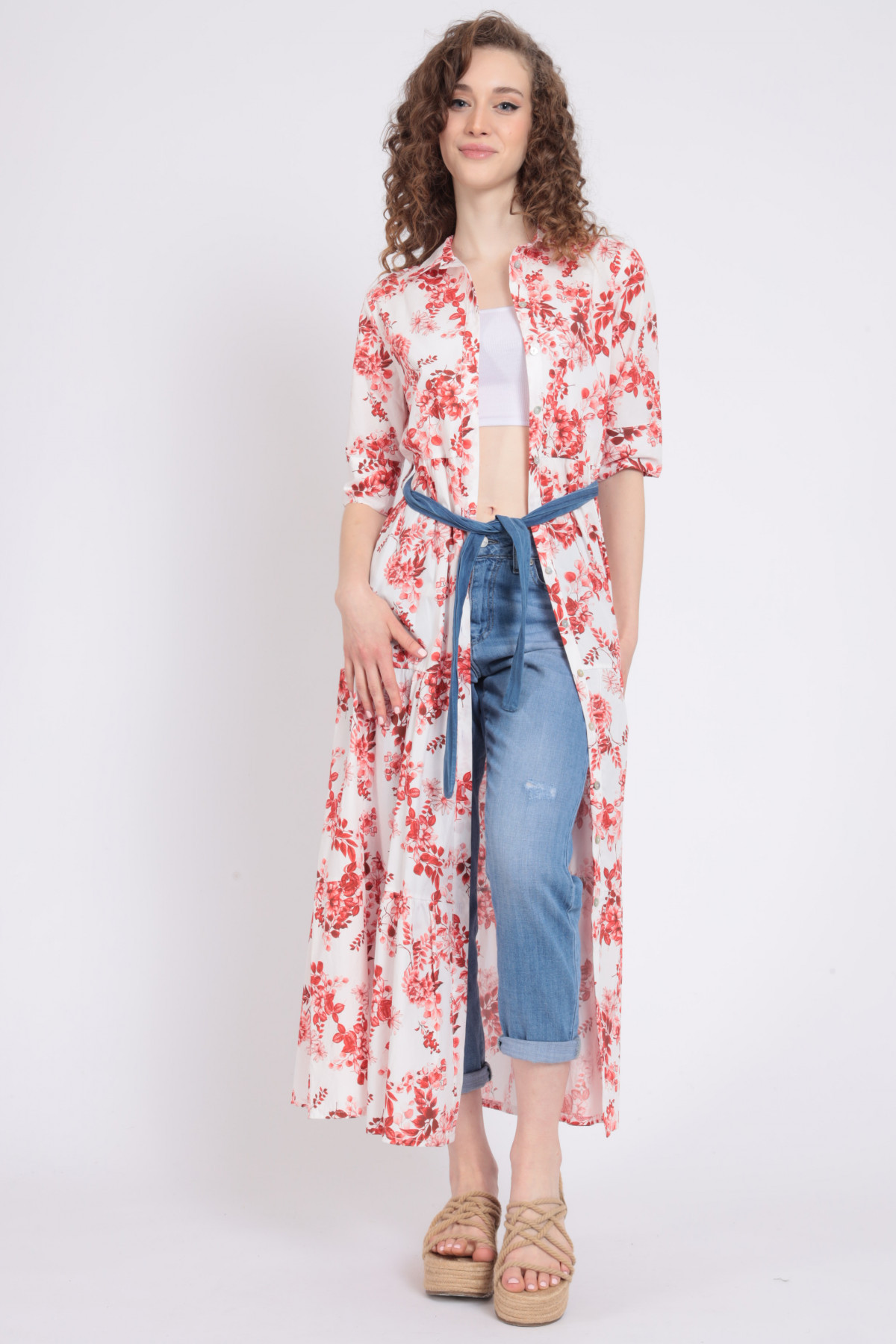 Floral Print Chemisier Dress with Chambray Belt