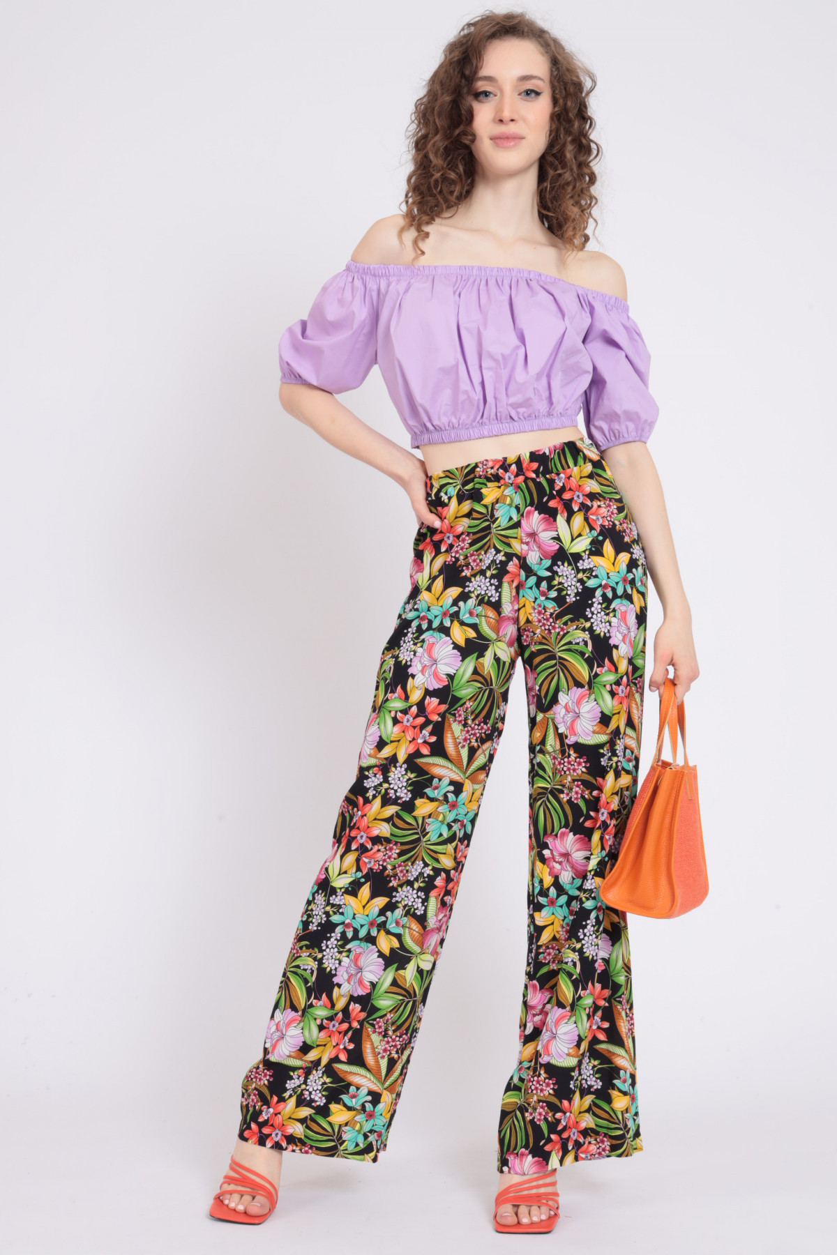 Palazzo Trousers in Floral Fantasy Print